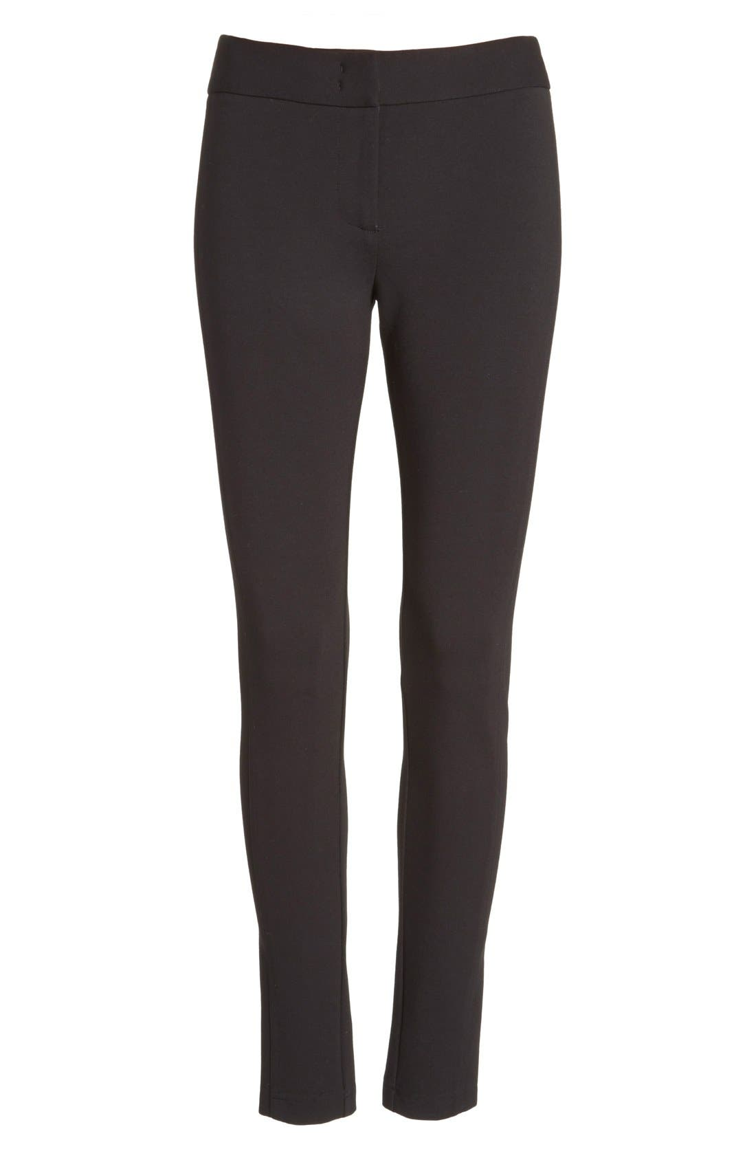 Armani Collezioni Double Face Jersey Leggings,                             Alternate thumbnail 4, color,                             Black