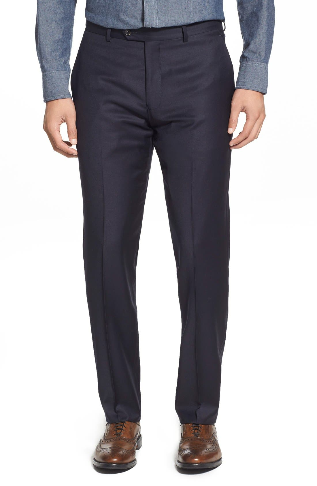 Strong Suit 'Dagger' Flat Front Solid Wool Trousers
