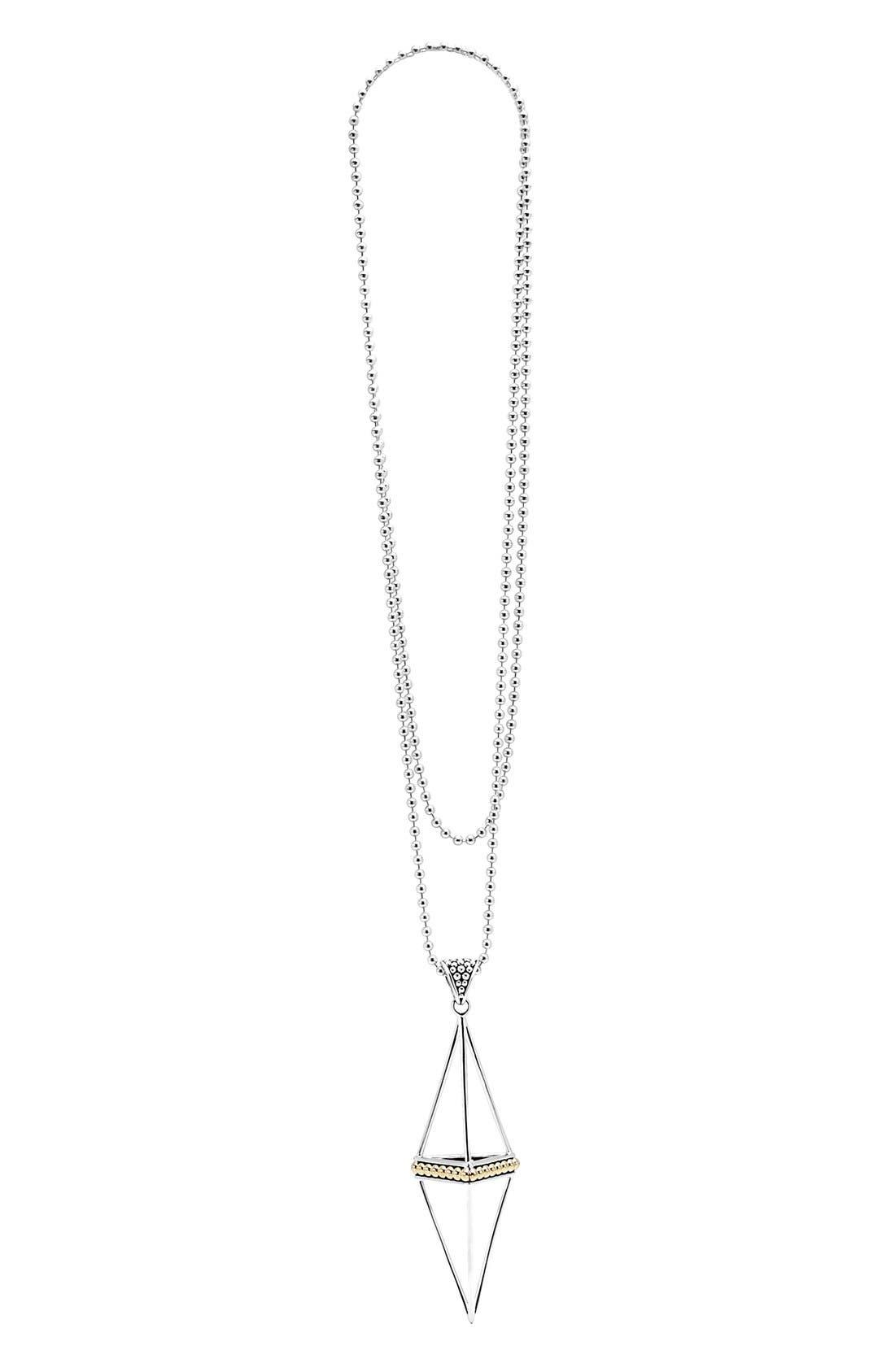 'KSl' Pyramid Pendant Necklace,                         Main,                         color, Silver/ Gold