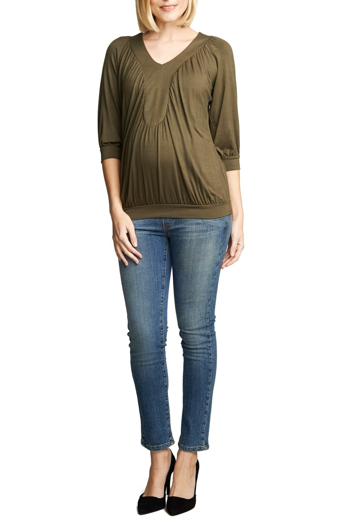 Alternate Image 1 Selected - Maternal America Ruched Dolman Top
