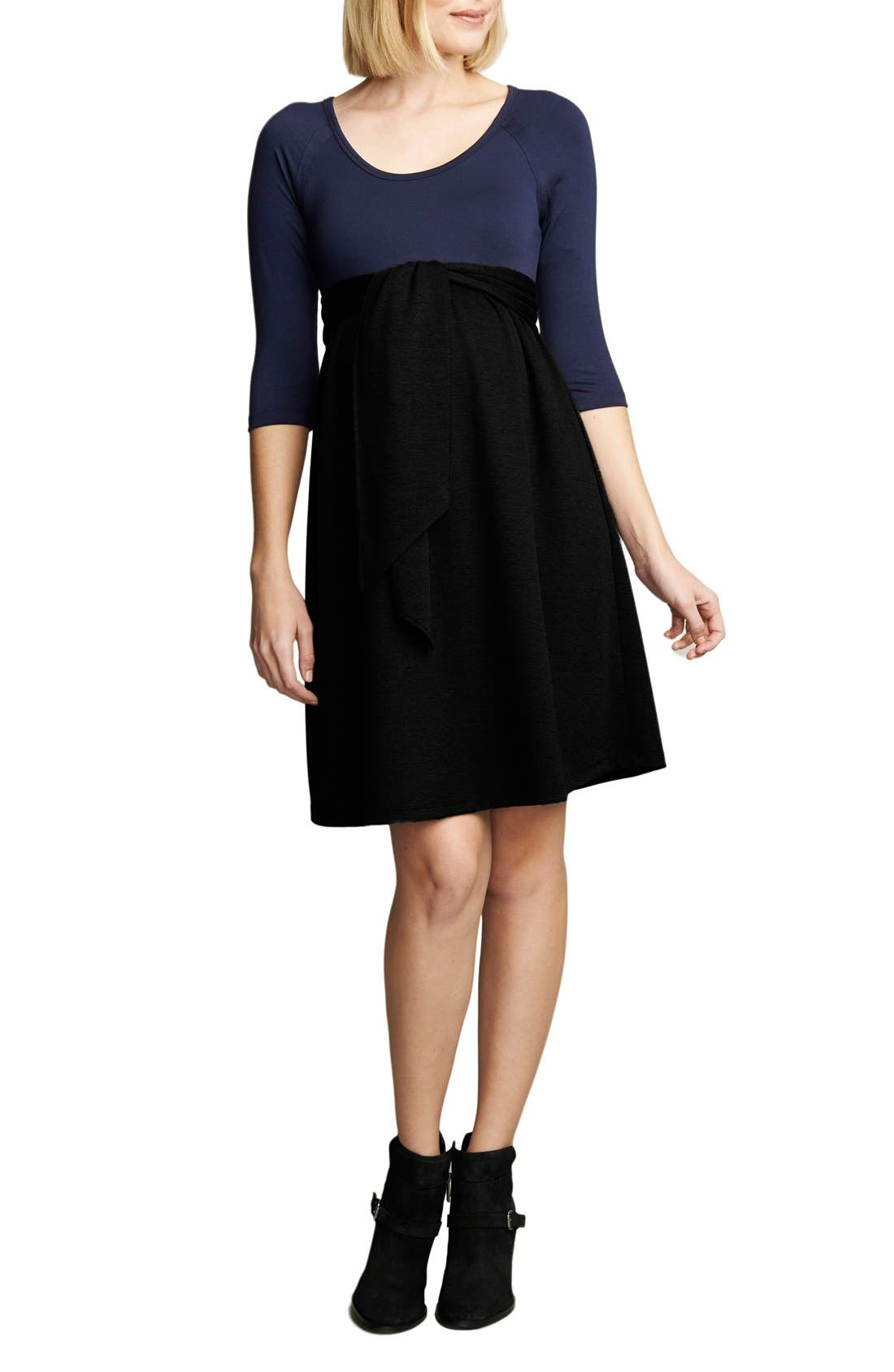 Tie Front Maternity Dress,                         Main,                         color, Navy/Black