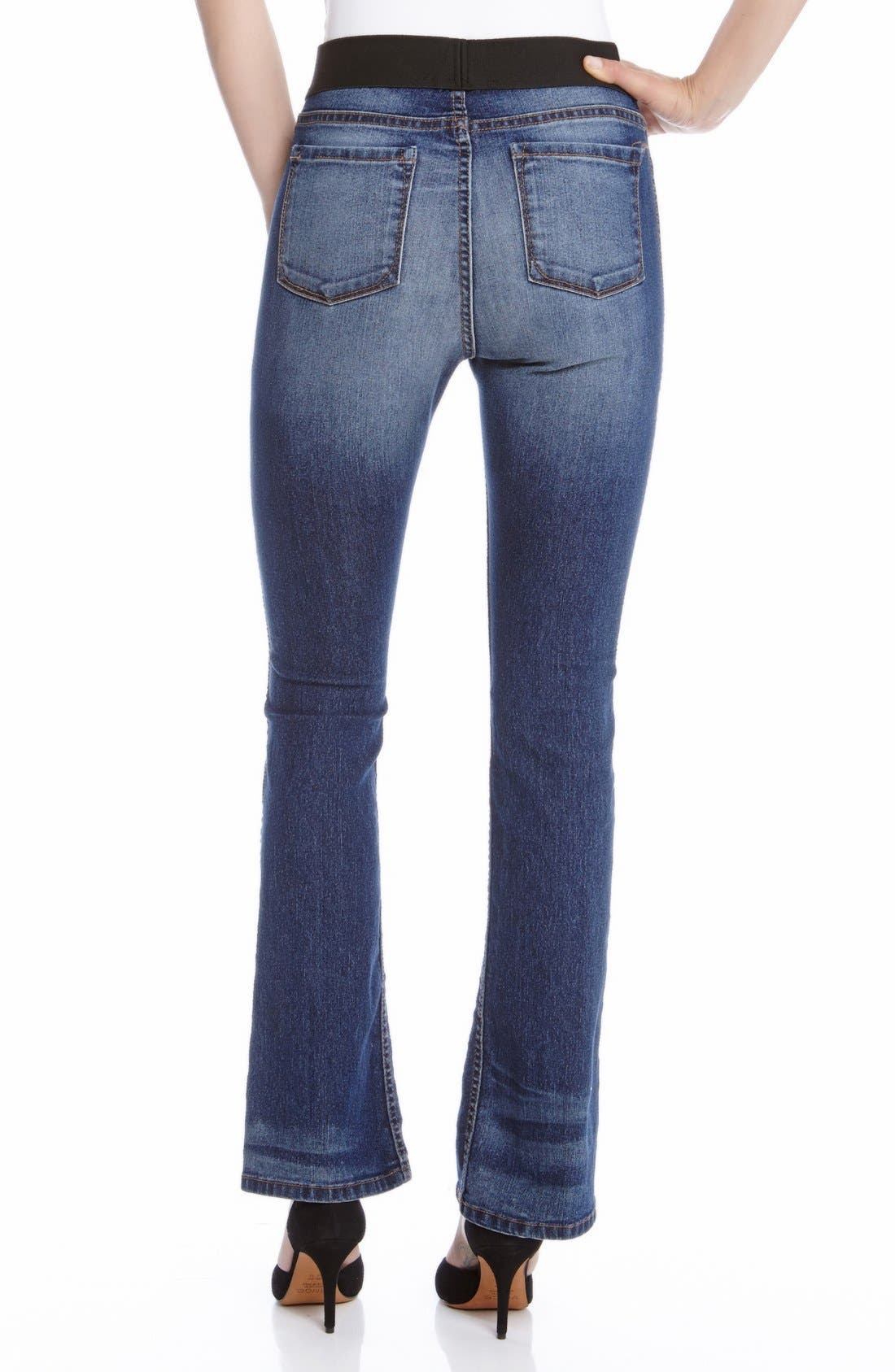 Alternate Image 2  - Karen Kane Pull-On Stretch Bootcut Jeans (Blue)