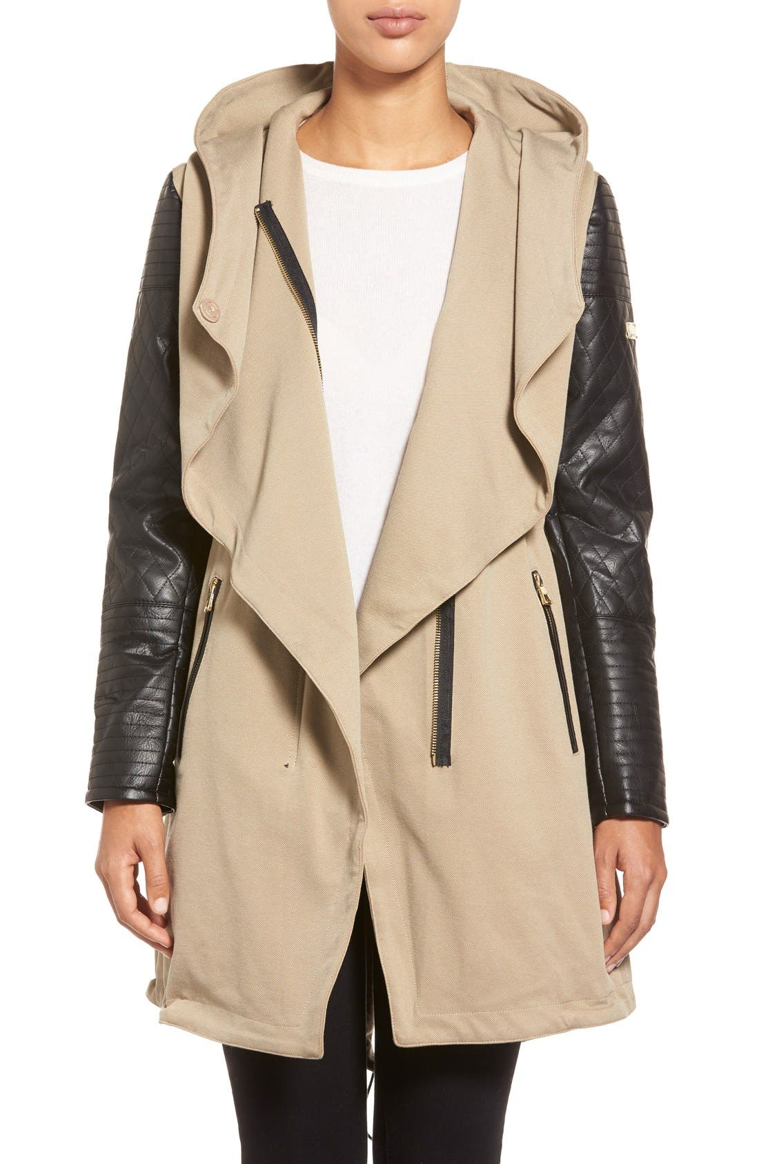 Alternate Image 4  - Vince Camuto Faux Leather Sleeve Asymmetrical Anorak
