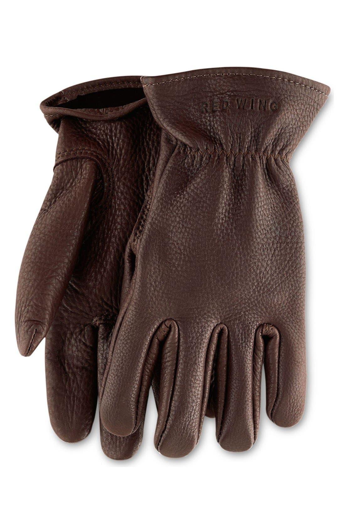 Buckskin Leather Gloves,                         Main,                         color, Brown