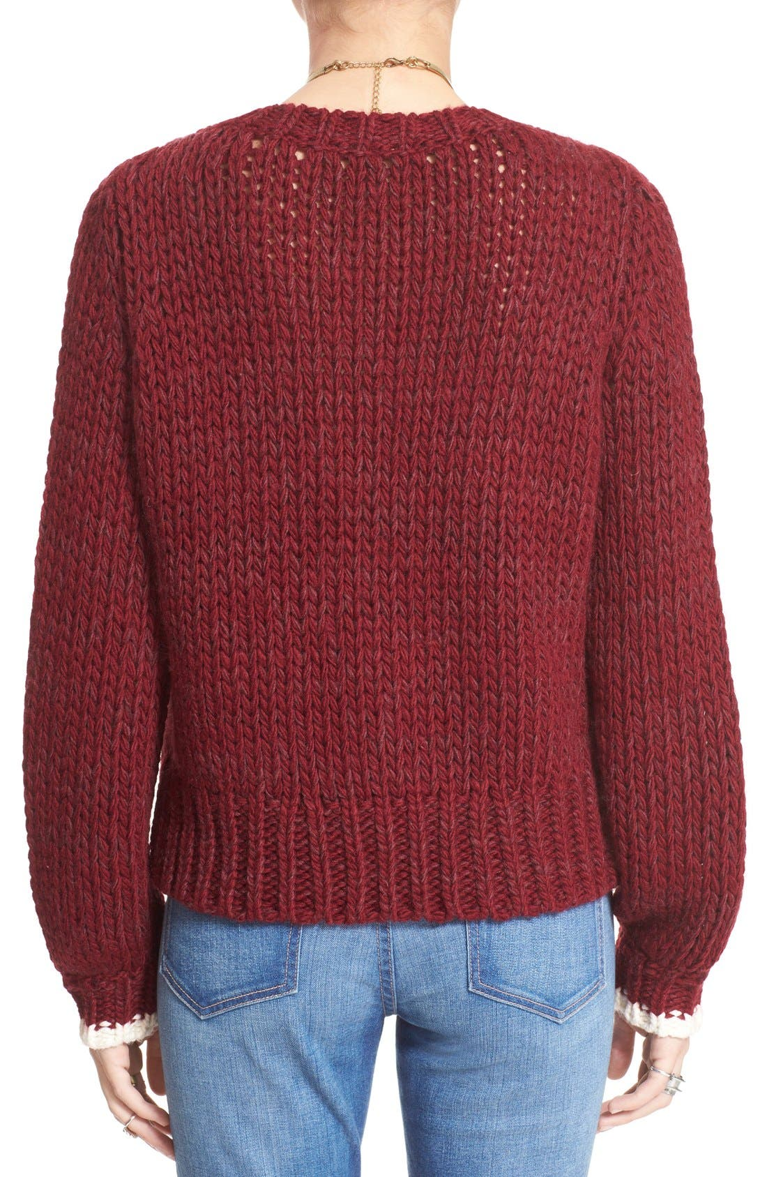 'Dancer and Prancer' Sweater,                             Alternate thumbnail 2, color,                             Beet Root