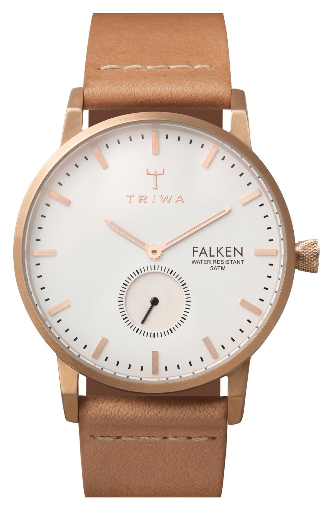 Rose Falken Organic Leather Strap Watch, 38mm,                         Main,                         color, Brown/ Gold/ White