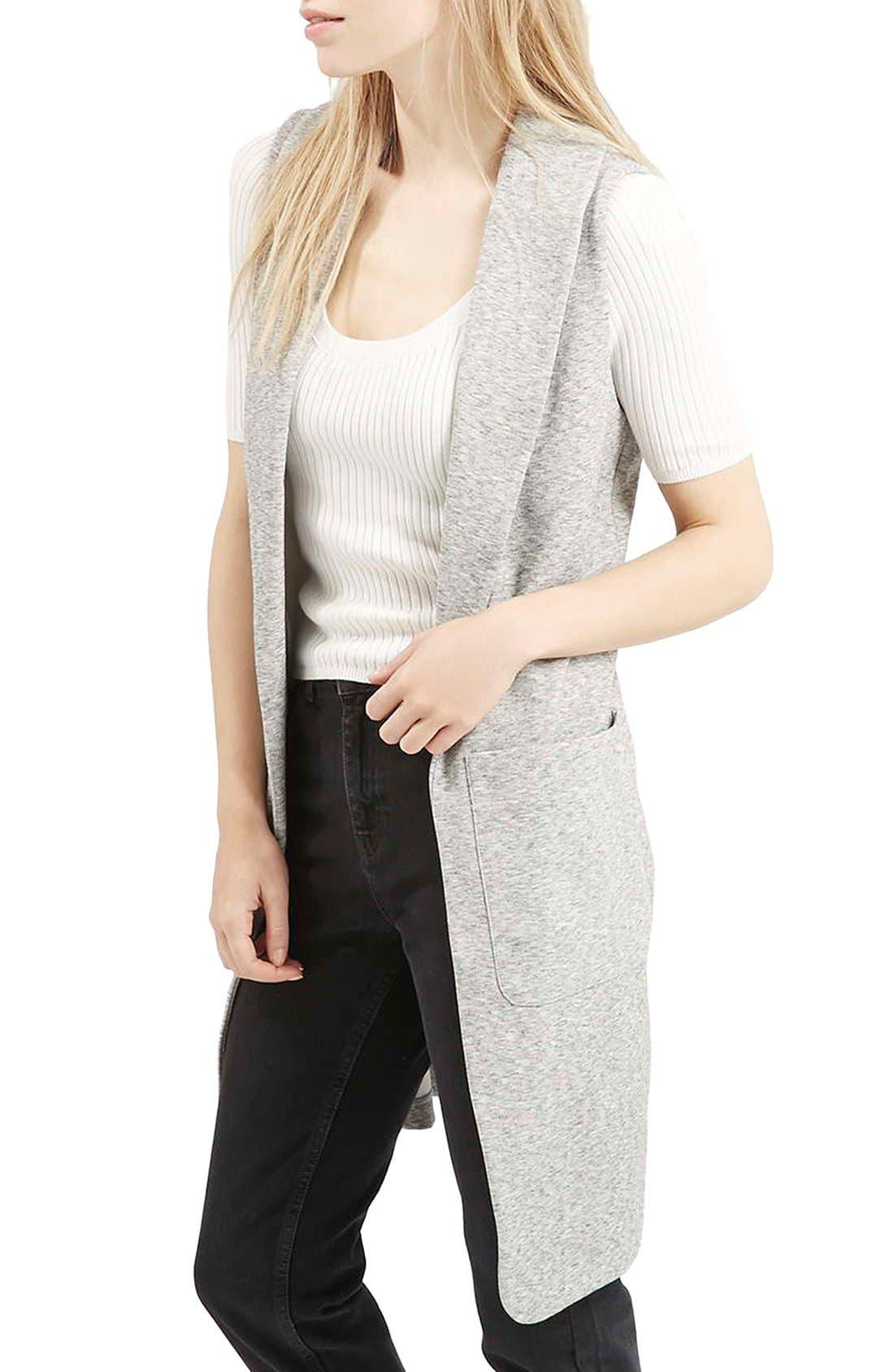 Marled Longline Vest,                         Main,                         color, Light Grey