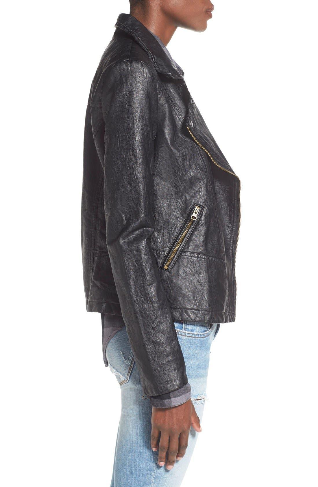 Alternate Image 4  - Sun & Shadow Faux Leather Moto Jacket