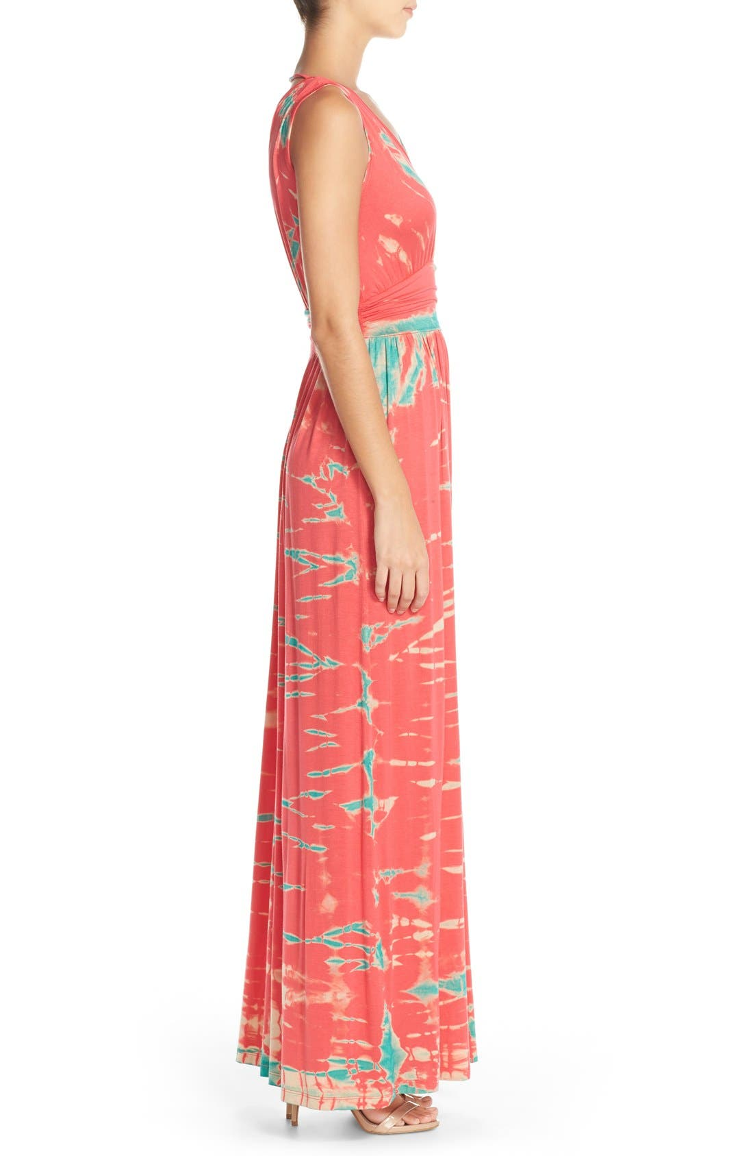 Tie Dye Ombré Jersey Maxi Dress,                             Alternate thumbnail 3, color,                             Pink/ Mint Special
