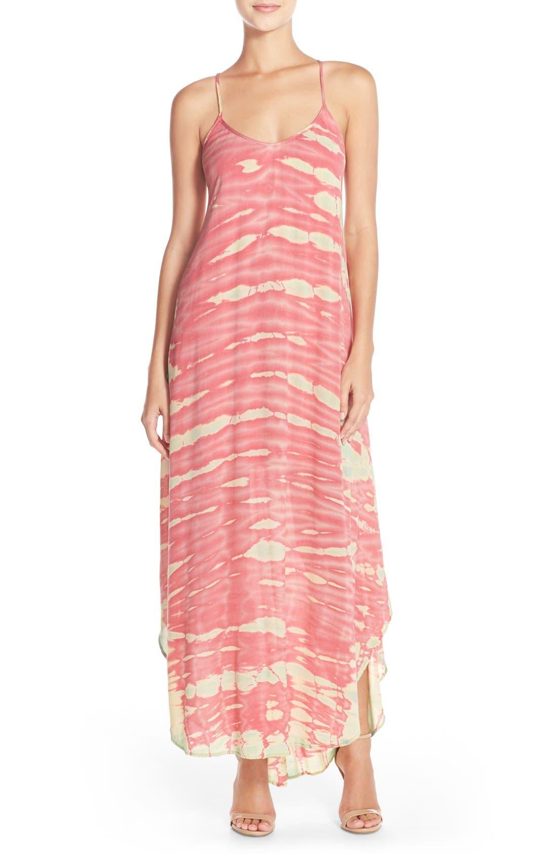 Tie Dye A-Line Maxi Dress,                             Main thumbnail 1, color,                             Pink/ Mint Special