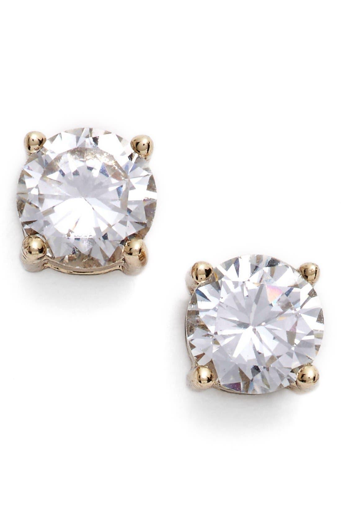 Crystal Stud Earrings,                         Main,                         color, Gold
