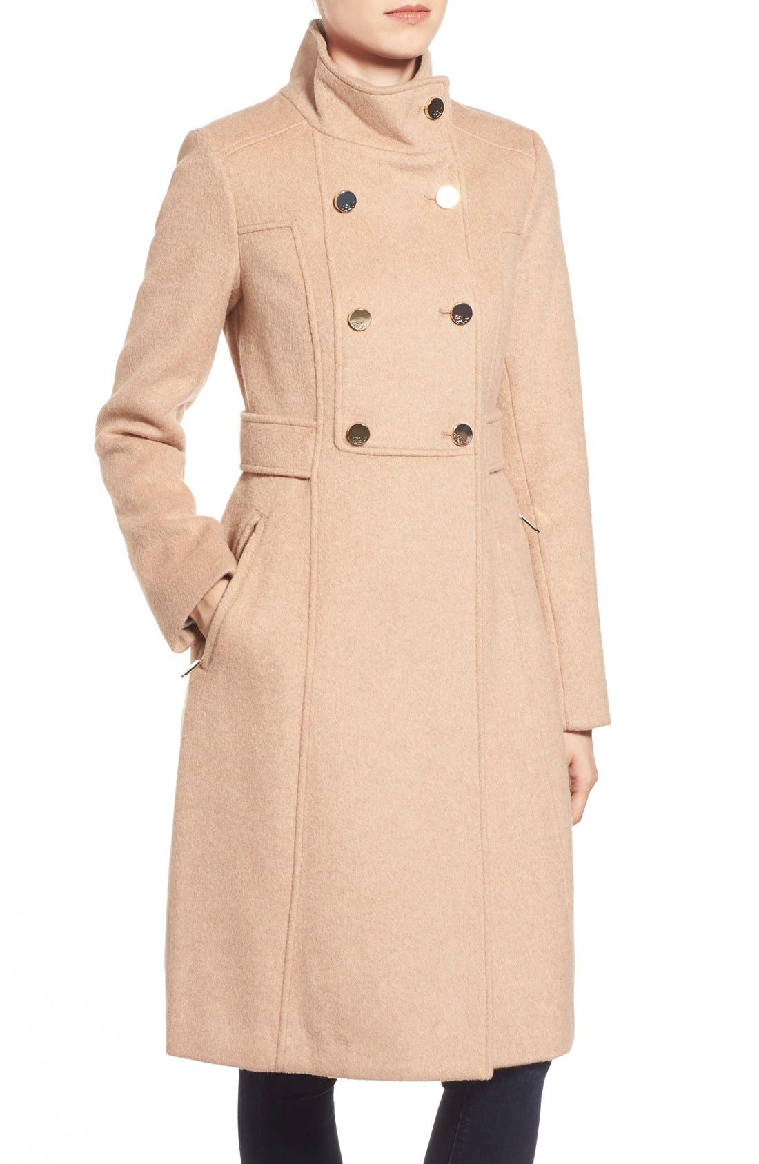 Wool Blend Long Military Coat,                             Alternate thumbnail 4, color,                             Camel