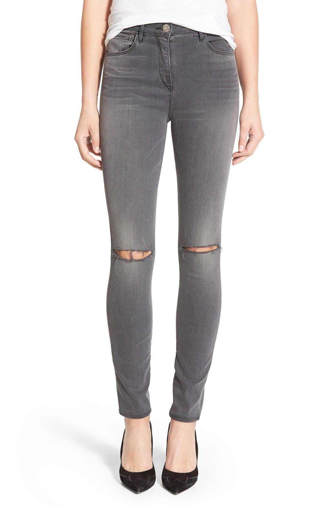 Alternate Image 1 Selected - 3x1 NYCHigh Rise Destroyed Skinny Jeans (Golf Grey Decon)