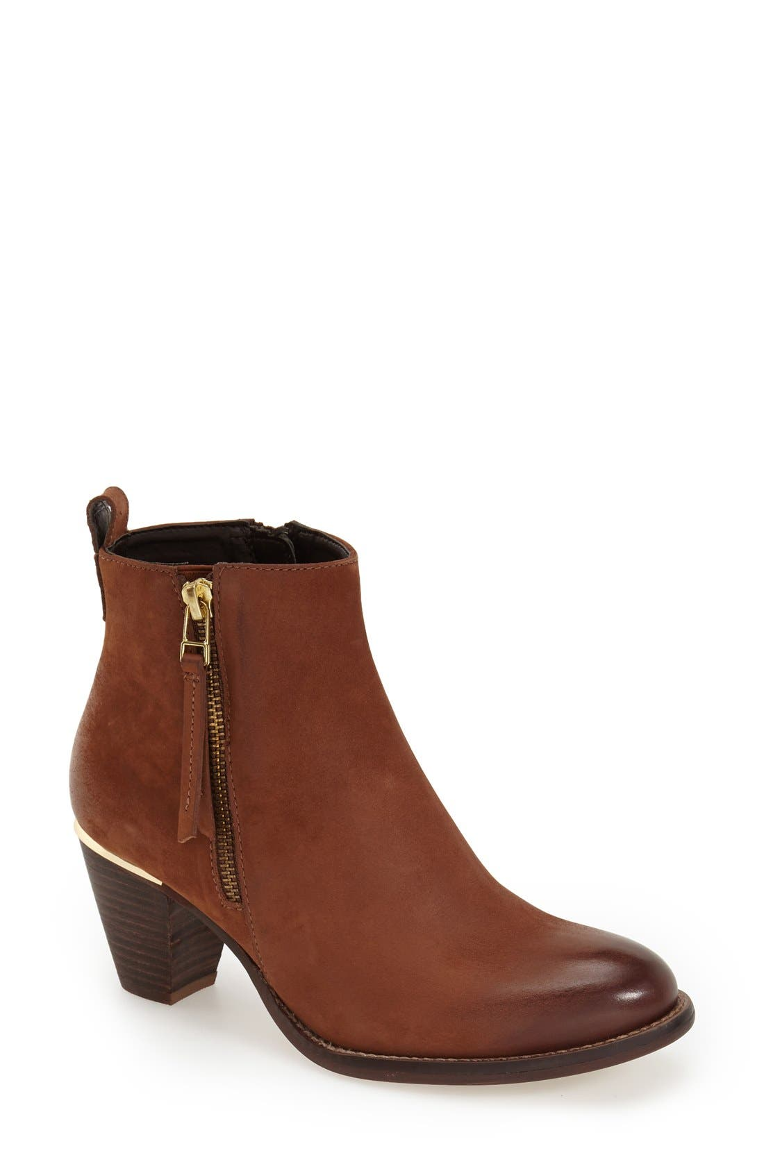 'Wantagh' Leather Ankle Boot,                             Main thumbnail 1, color,                             Cognac Leather