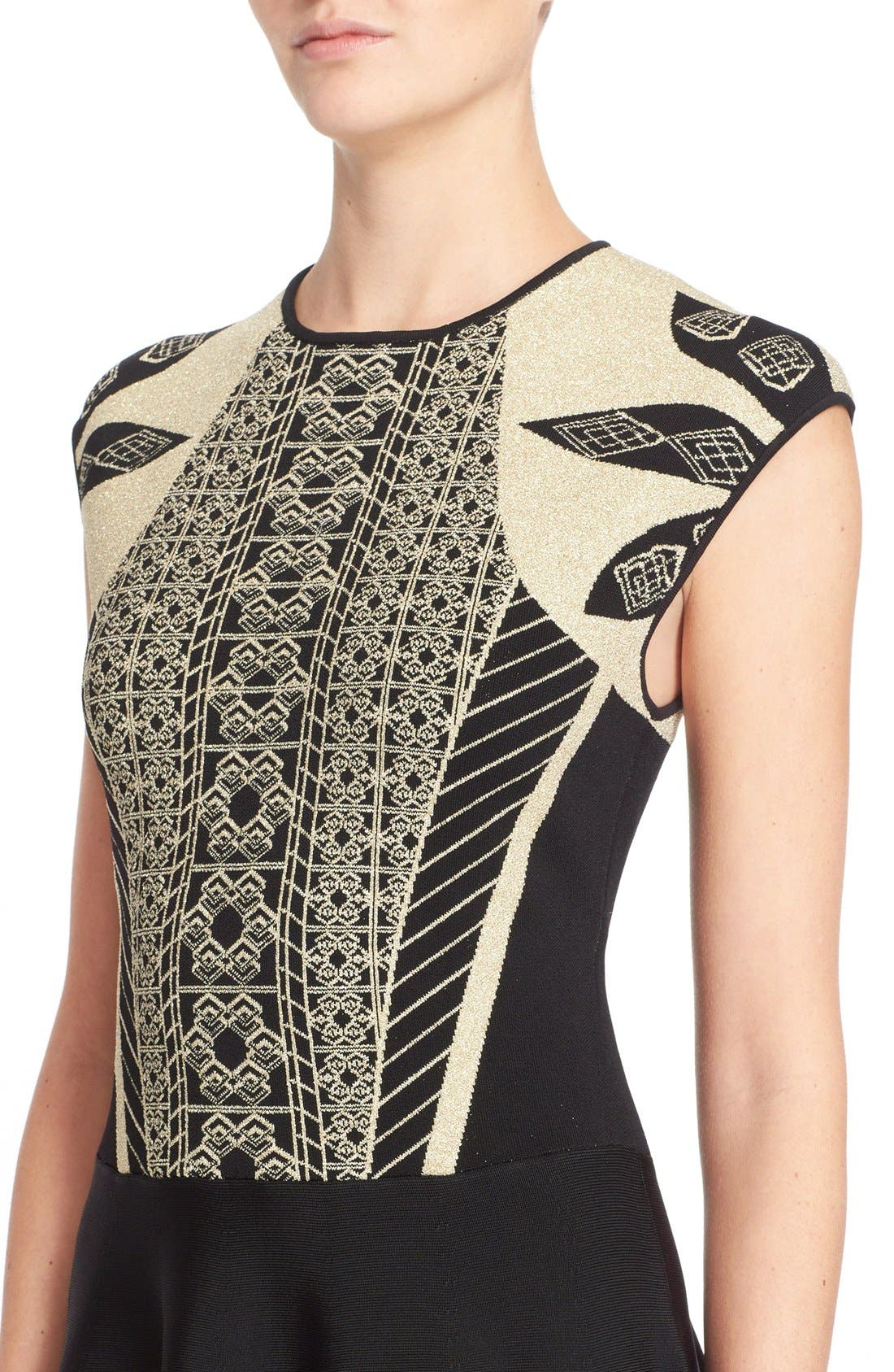 Alternate Image 4  - Ted Baker London 'Jenkin' Metallic Jacquard Fit & Flare Dress