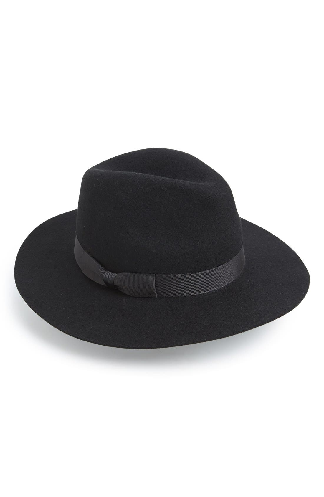 'The Midnight Muse II' Felt Fedora,                         Main,                         color, Black With Black Ribbon