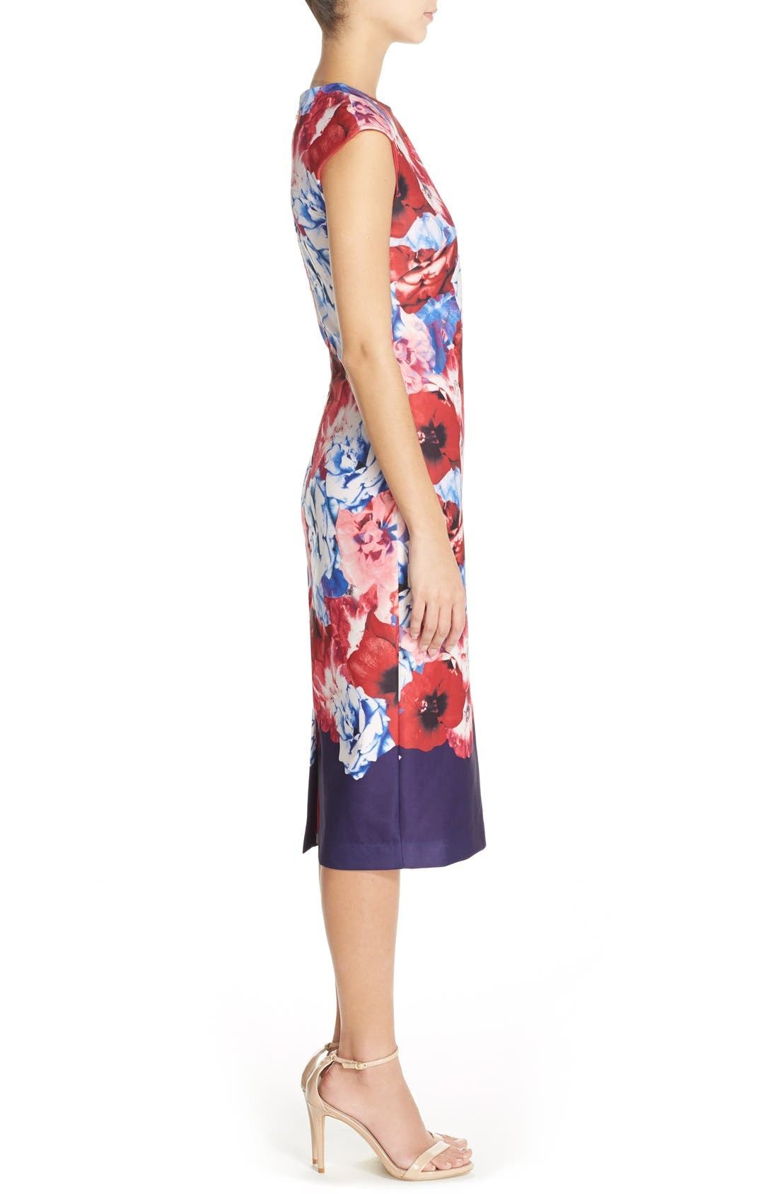 Alternate Image 3  - Vince Camuto Floral Print Stretch Midi Dress (Regular & Petite)