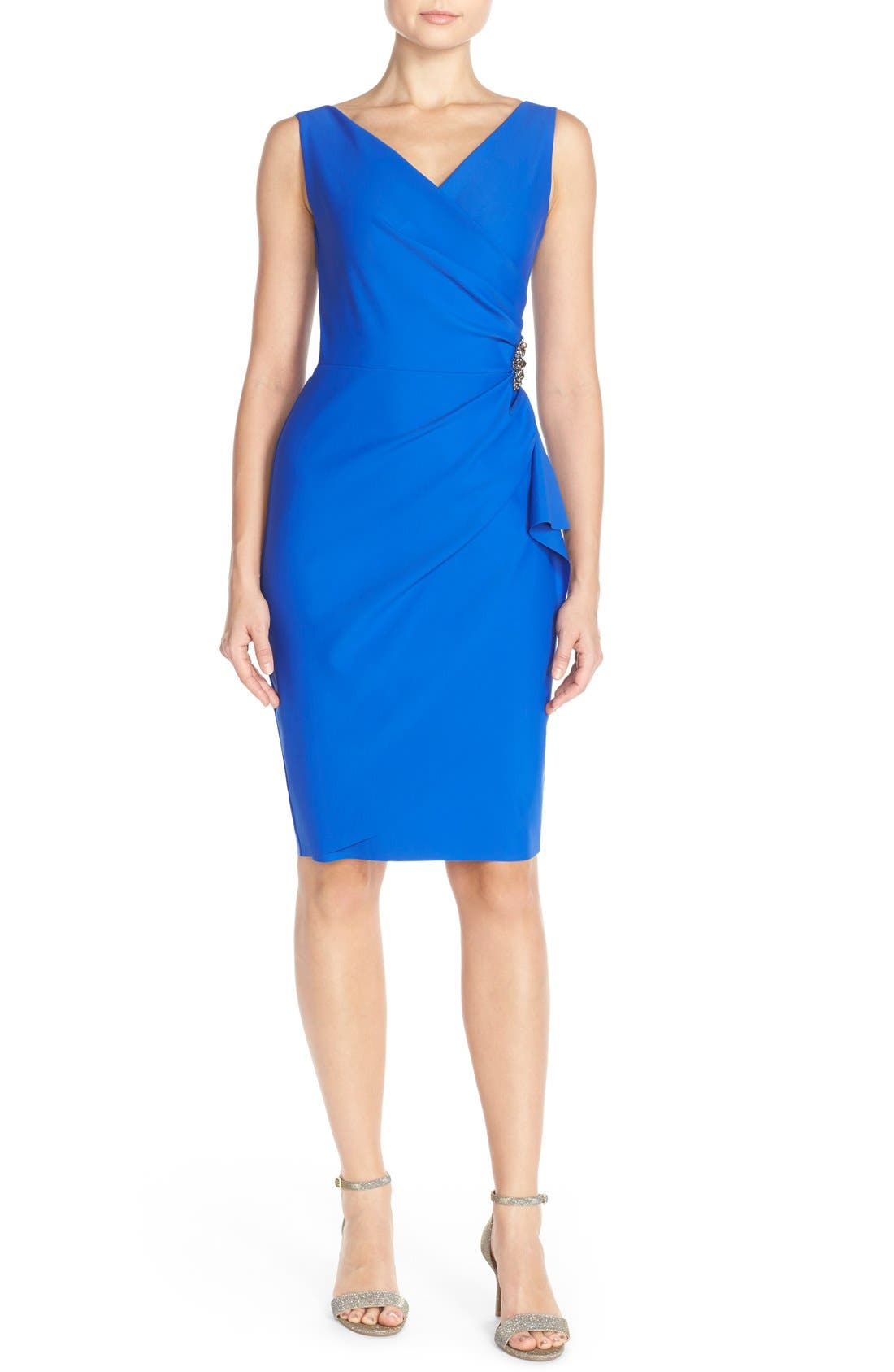 Side Ruched Dress,                             Alternate thumbnail 5, color,                             Royal