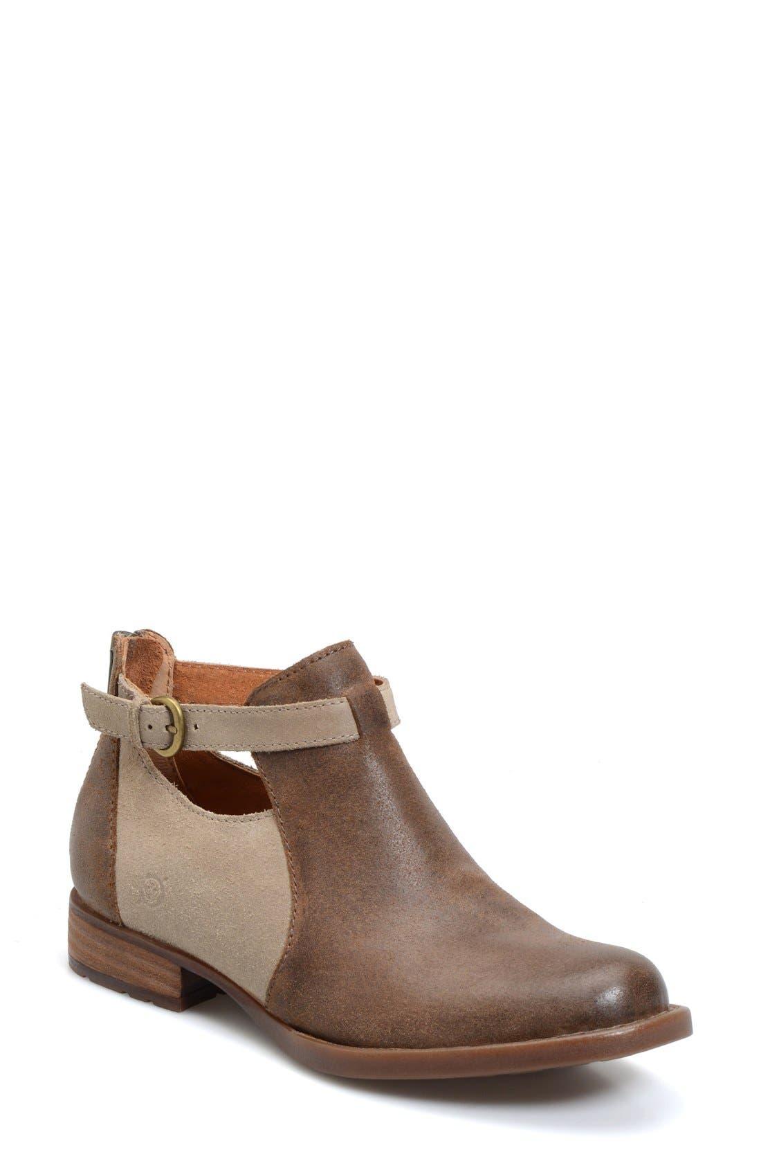 'Posh' Cutout Bootie,                             Main thumbnail 1, color,                             Brown/ Castoro Leather