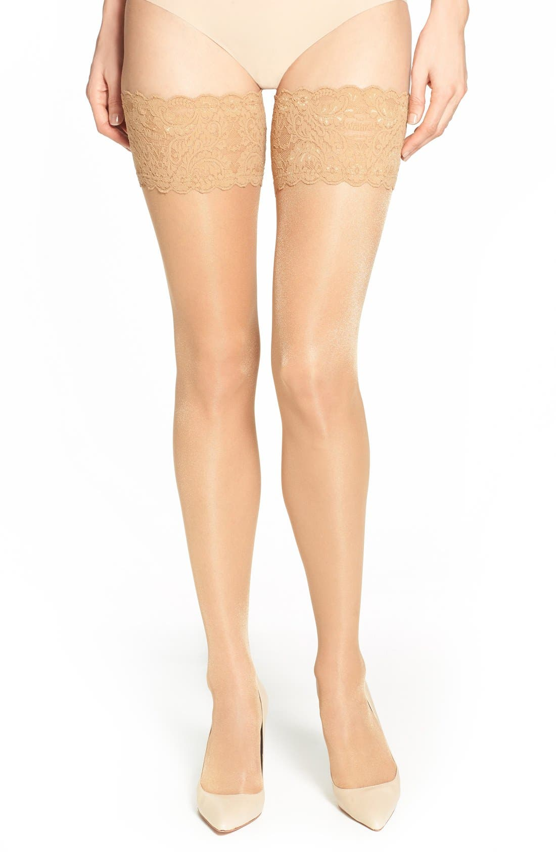 Satin Touch 20 Stay-Up Stockings,                             Main thumbnail 1, color,                             Gobi