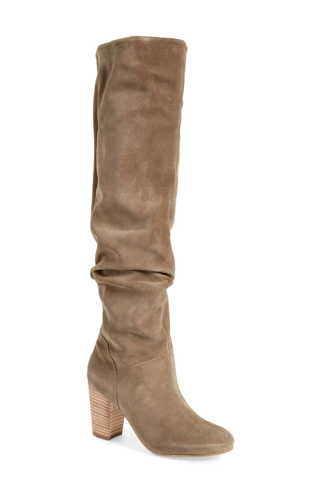 'Larimar' Over The Knee Boot,                             Main thumbnail 1, color,                             Taupe Suede