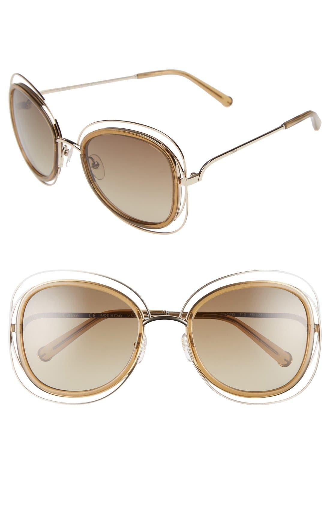 'Carlina' 56mm Gradient Sunglasses,                         Main,                         color, Gold/ Transparent Brown