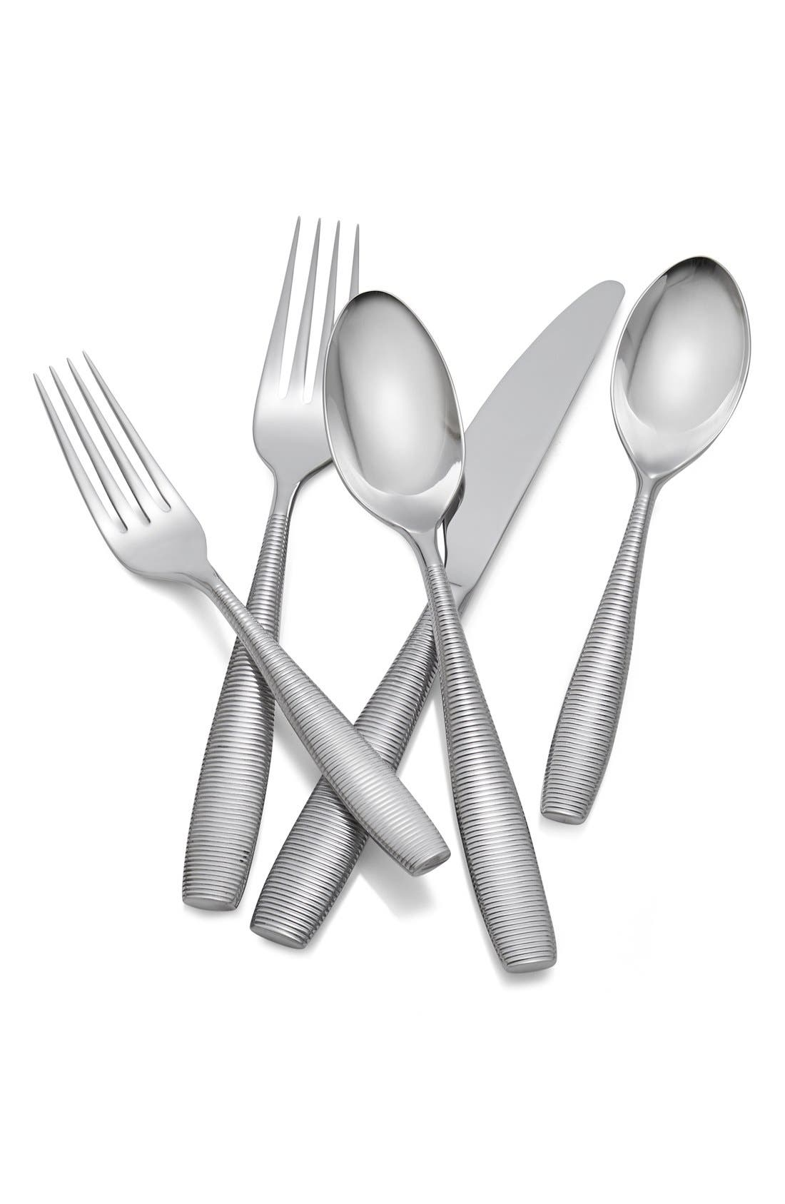 'Fiona' 5-Piece Stainless Steel Place Setting,                             Main thumbnail 1, color,                             Silver