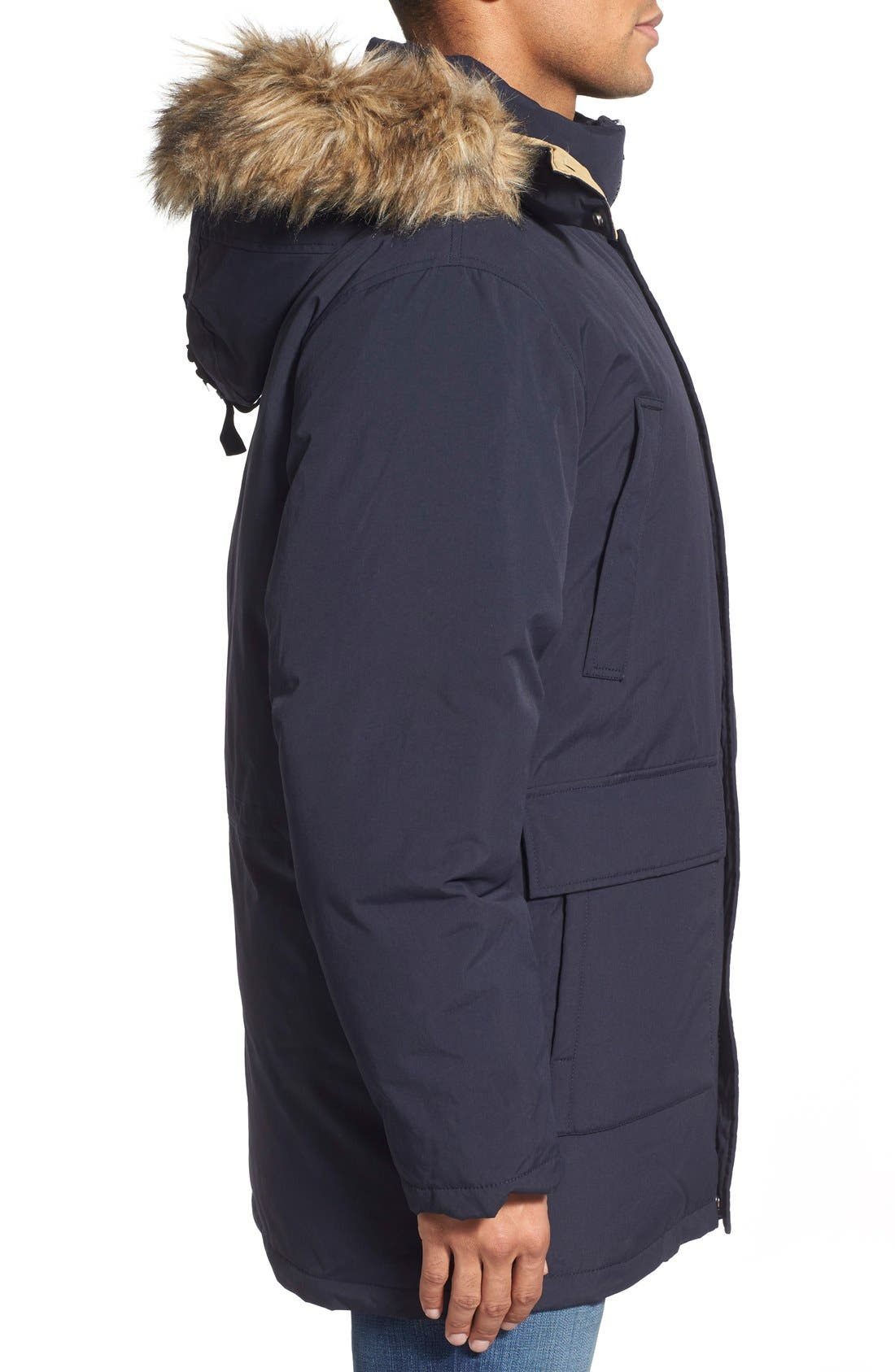 'Iceberg' Water Resistant Down Parka with Faux Fur Trim,                             Alternate thumbnail 3, color,                             Navy