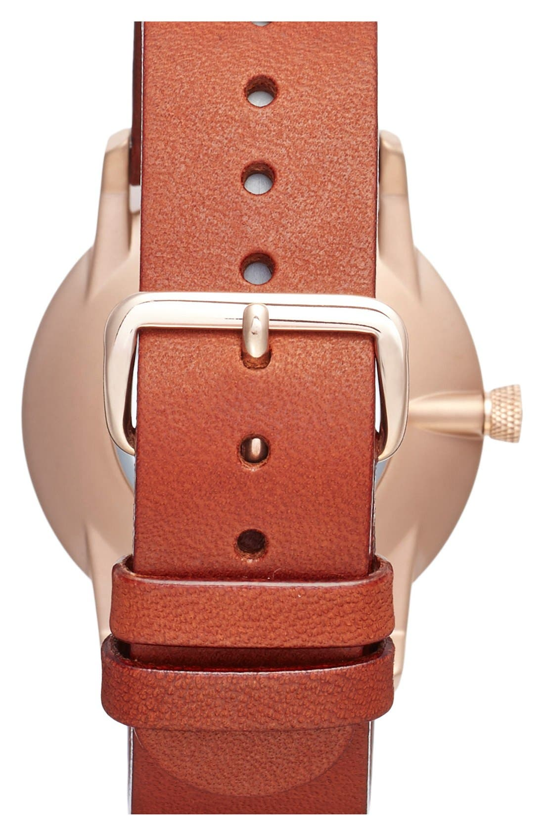 Rose Falken Organic Leather Strap Watch, 38mm,                             Alternate thumbnail 4, color,                             Cognac/ Rose Gold/ White