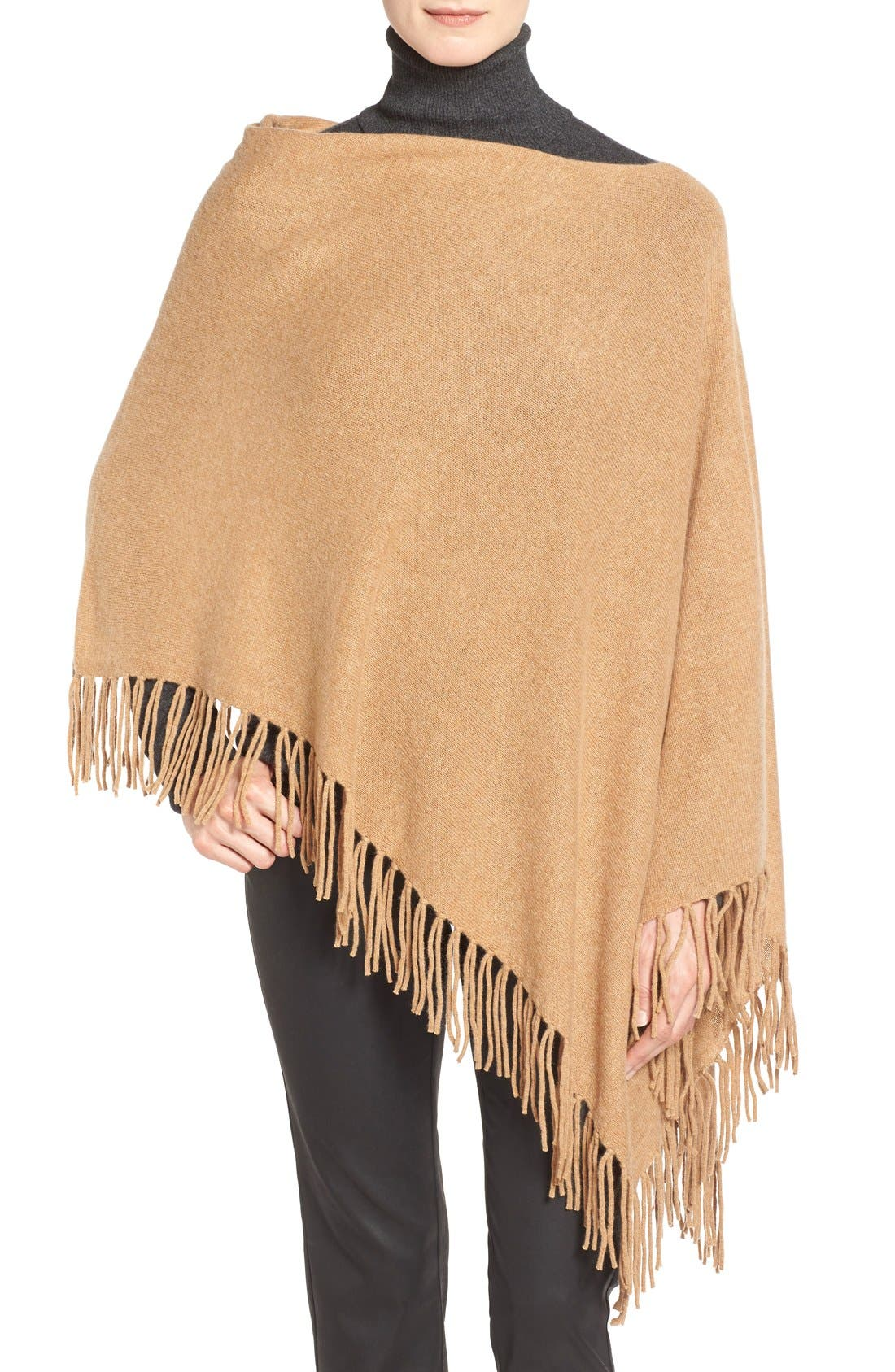 Main Image - White + Warren Convertible Cashmere Poncho with Fringe