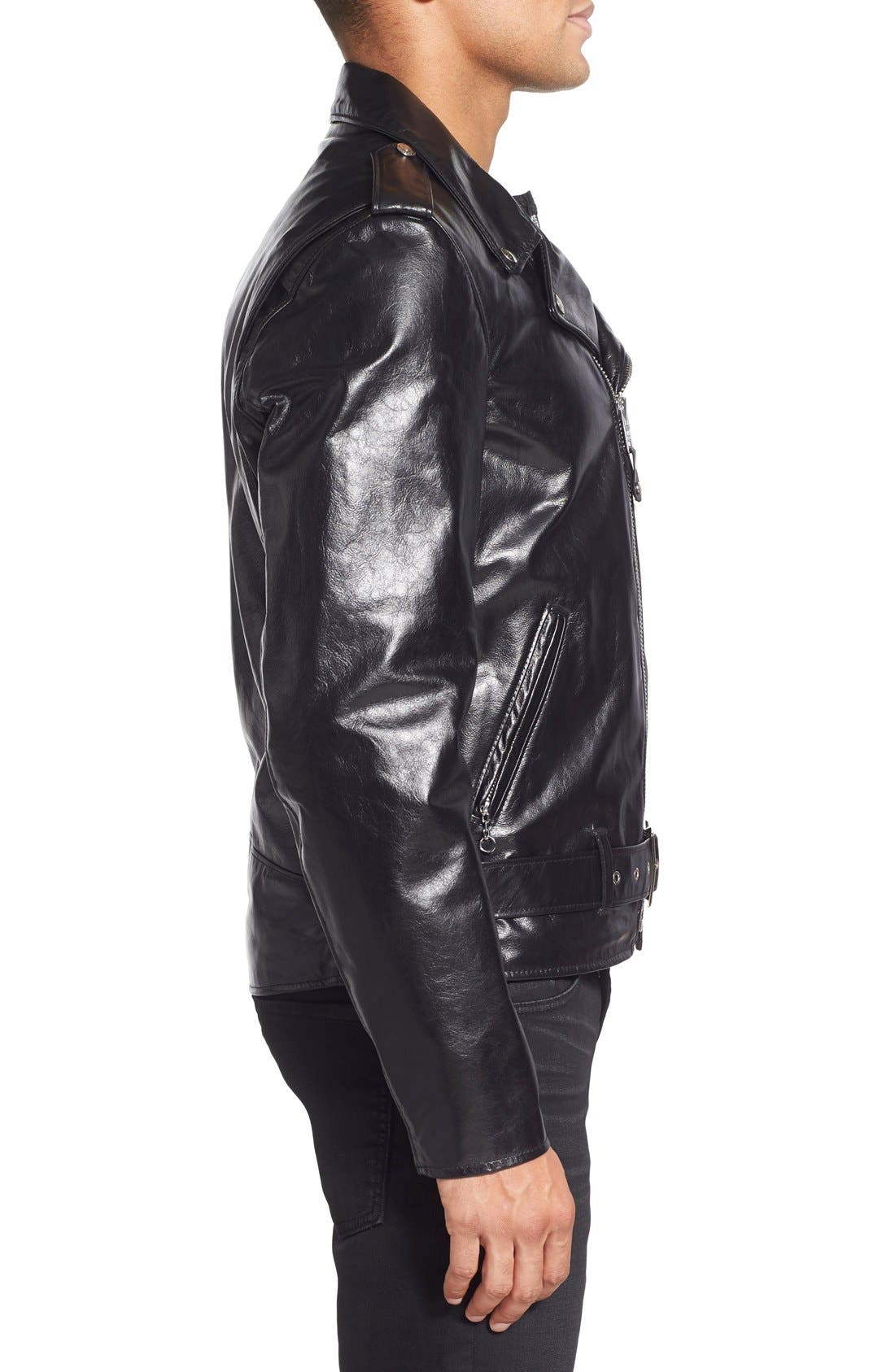 Waxy Cowhide Leather Motorcycle Jacket,                             Alternate thumbnail 3, color,                             Black