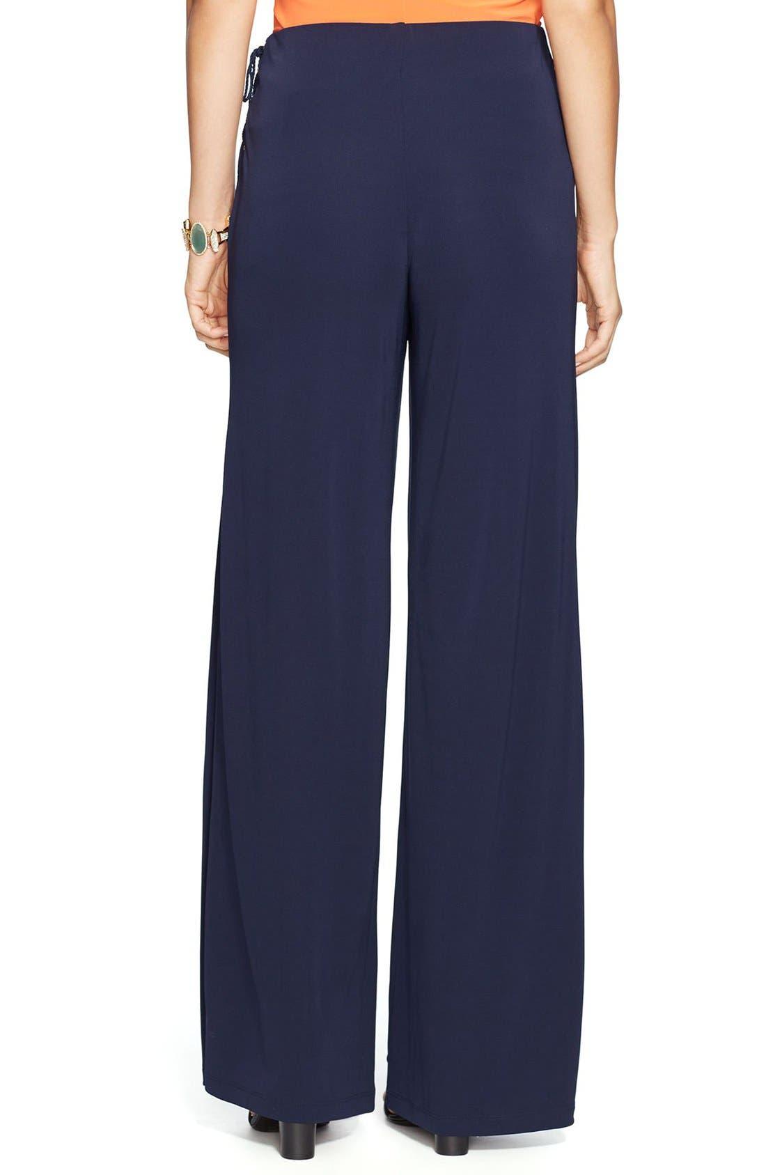 Alternate Image 2  - Lauren Ralph Lauren Lace-Up Wide Leg Jersey Pants
