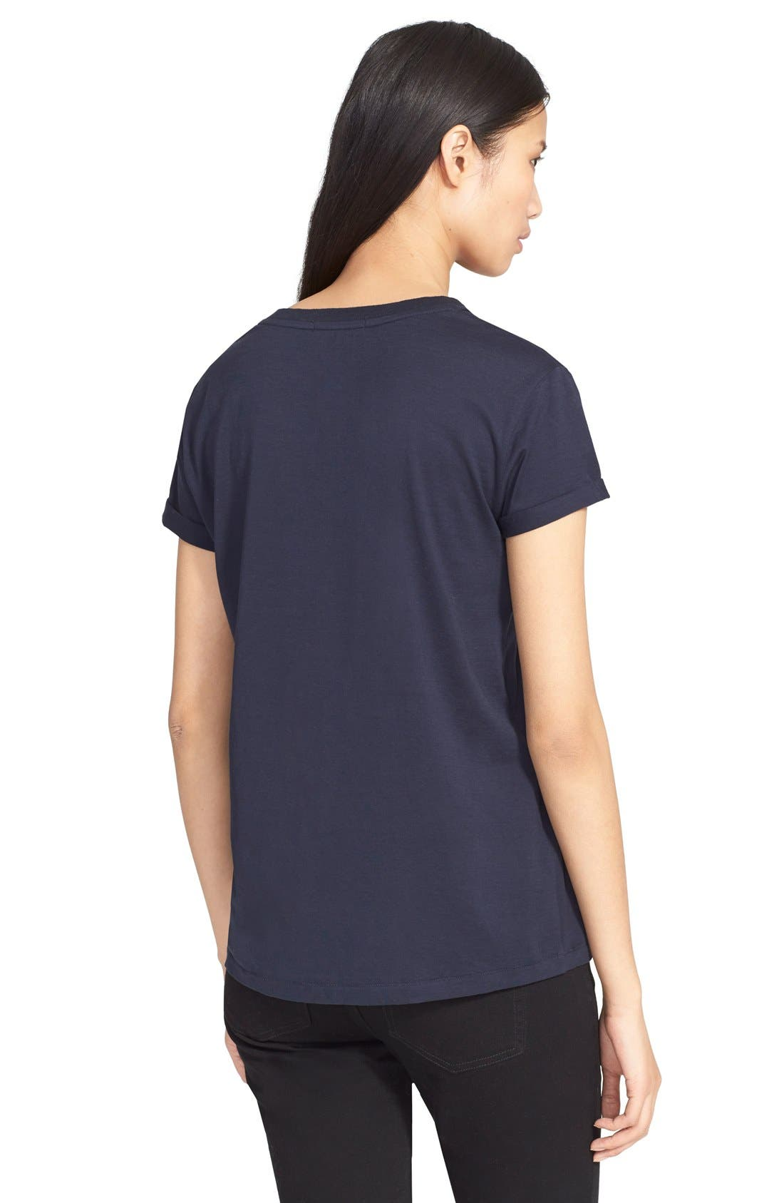 Cotton Jersey V-Neck Tee,                             Alternate thumbnail 2, color,                             Ink