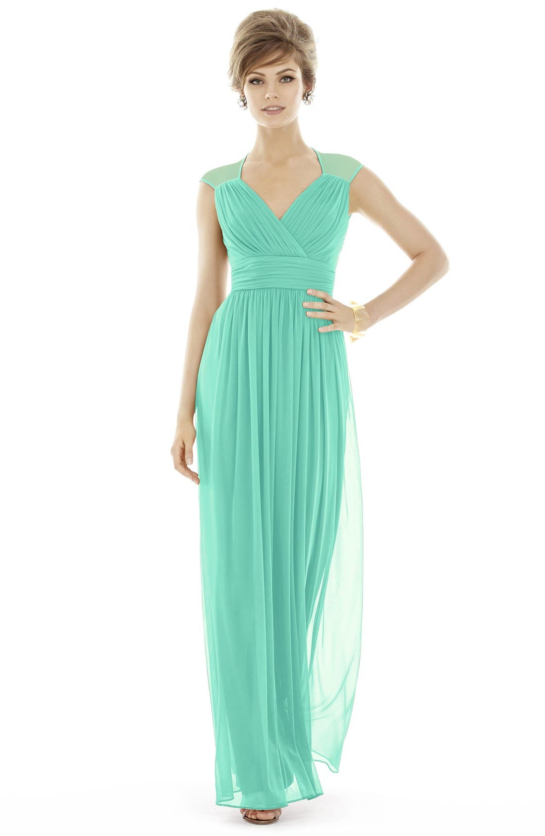 Alternate Image 6  - Alfred Sung Shirred Chiffon Cap Sleeve Gown