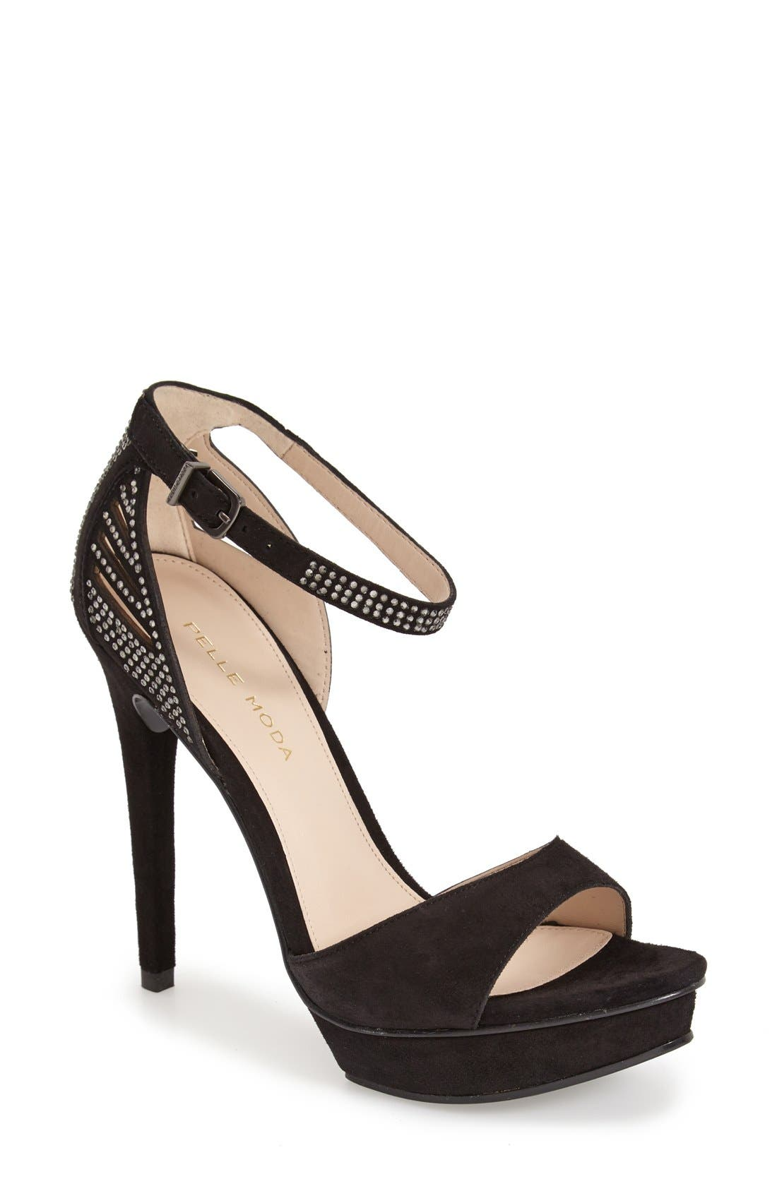 'Fenton' Ankle Strap Sandal,                             Main thumbnail 1, color,                             Black Suede