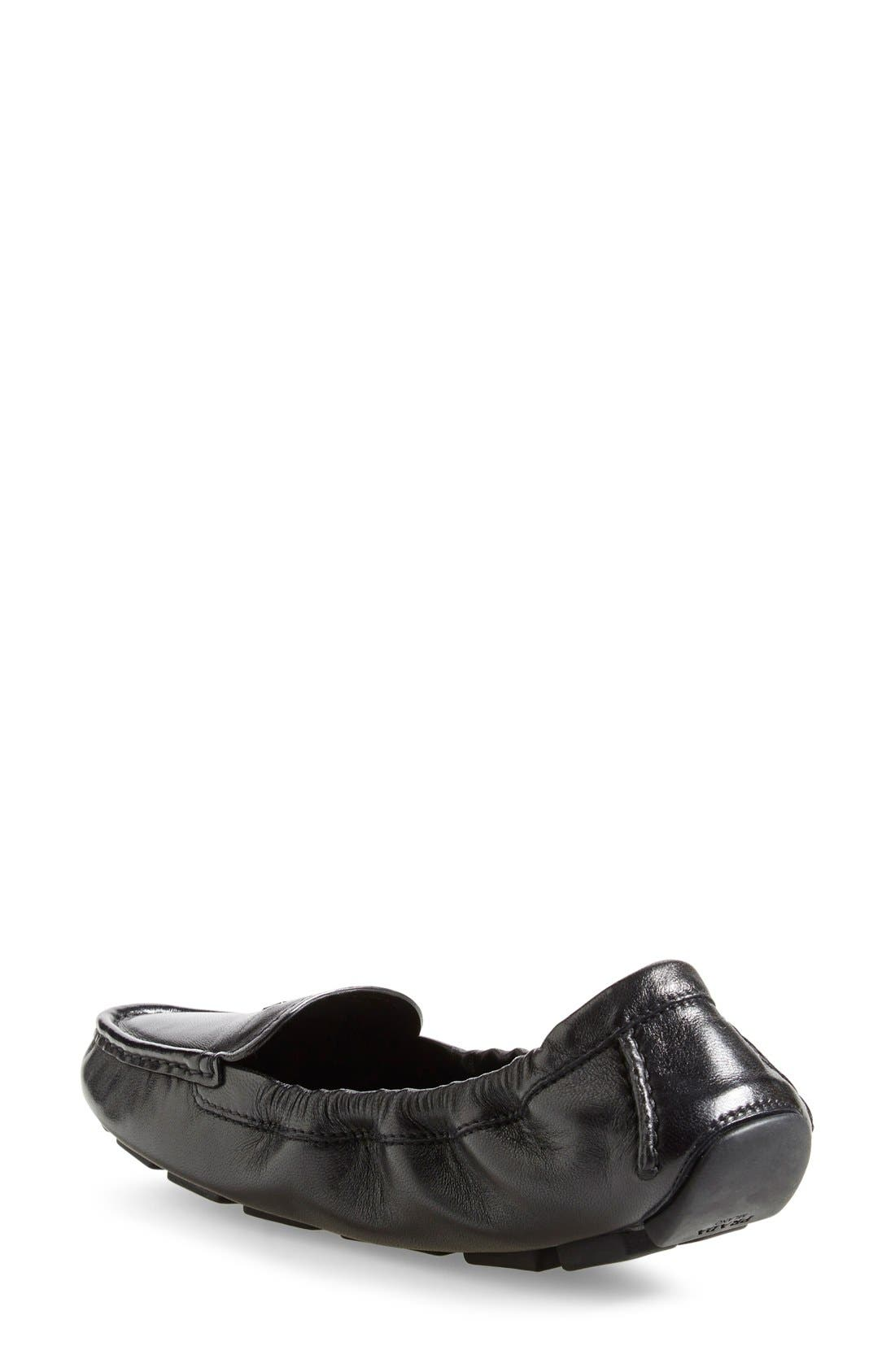 'Scrunch' Driving Loafer,                             Alternate thumbnail 2, color,                             Black Leather