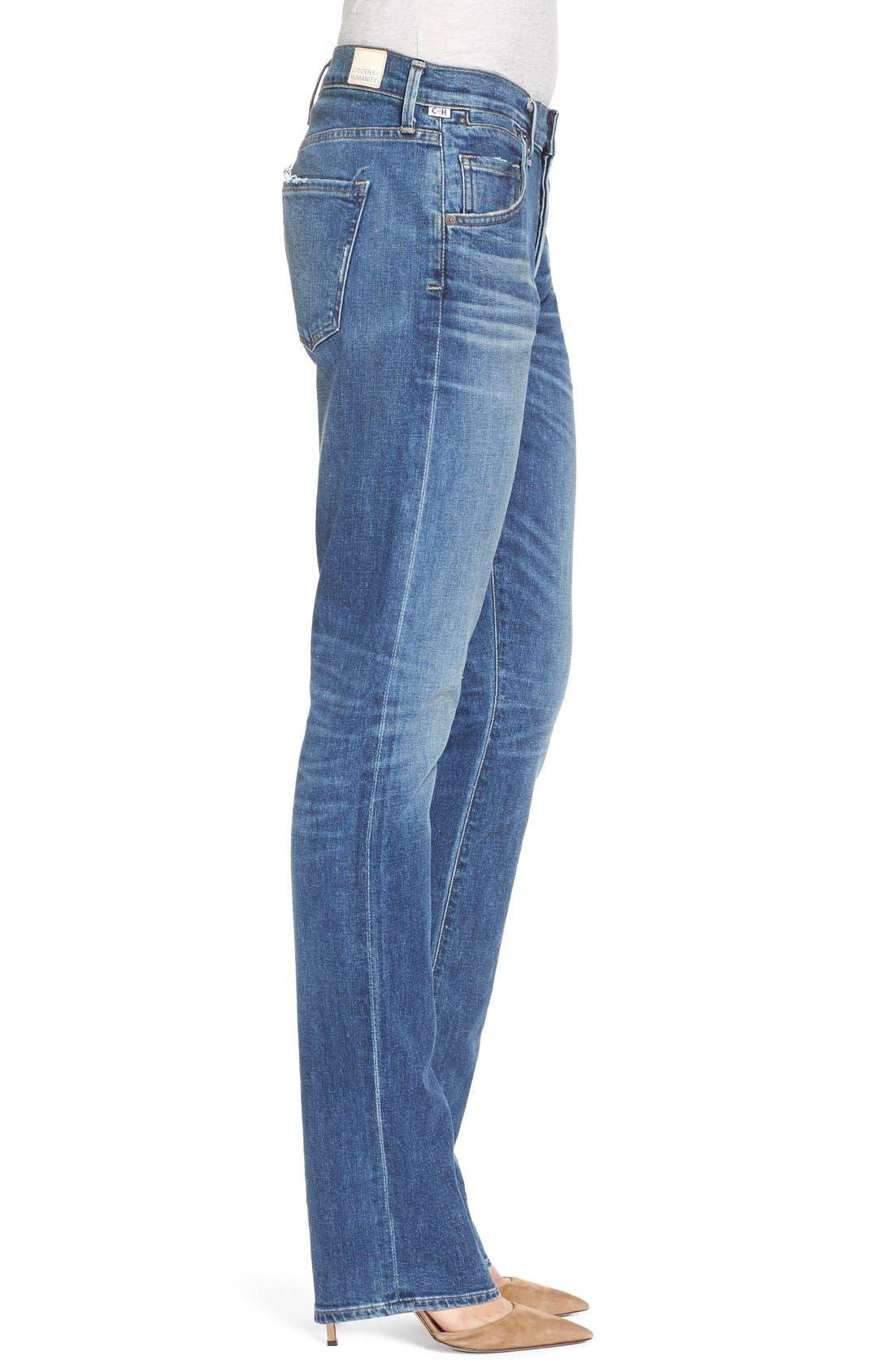 'Emerson Long' Slim Boyfriend Jeans,                             Alternate thumbnail 3, color,                             Blue Mountain