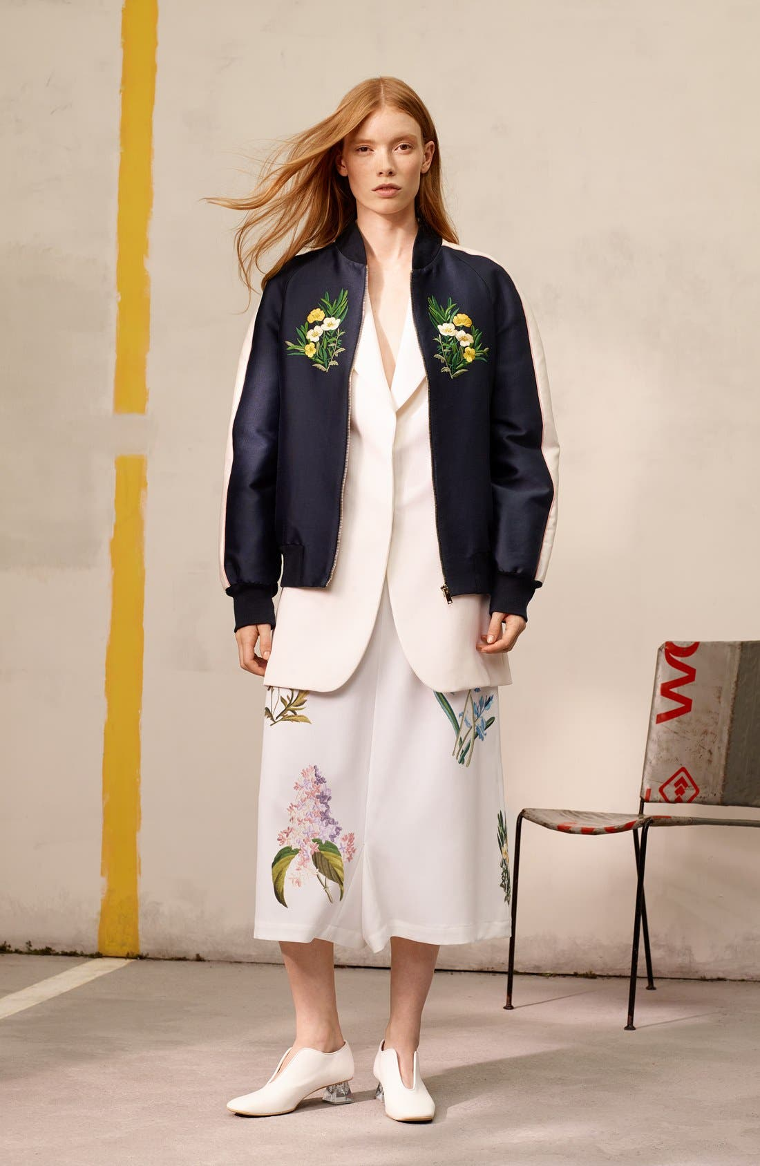 'Lorinda' Floral Embroidered Bomber Jacket,                             Alternate thumbnail 6, color,