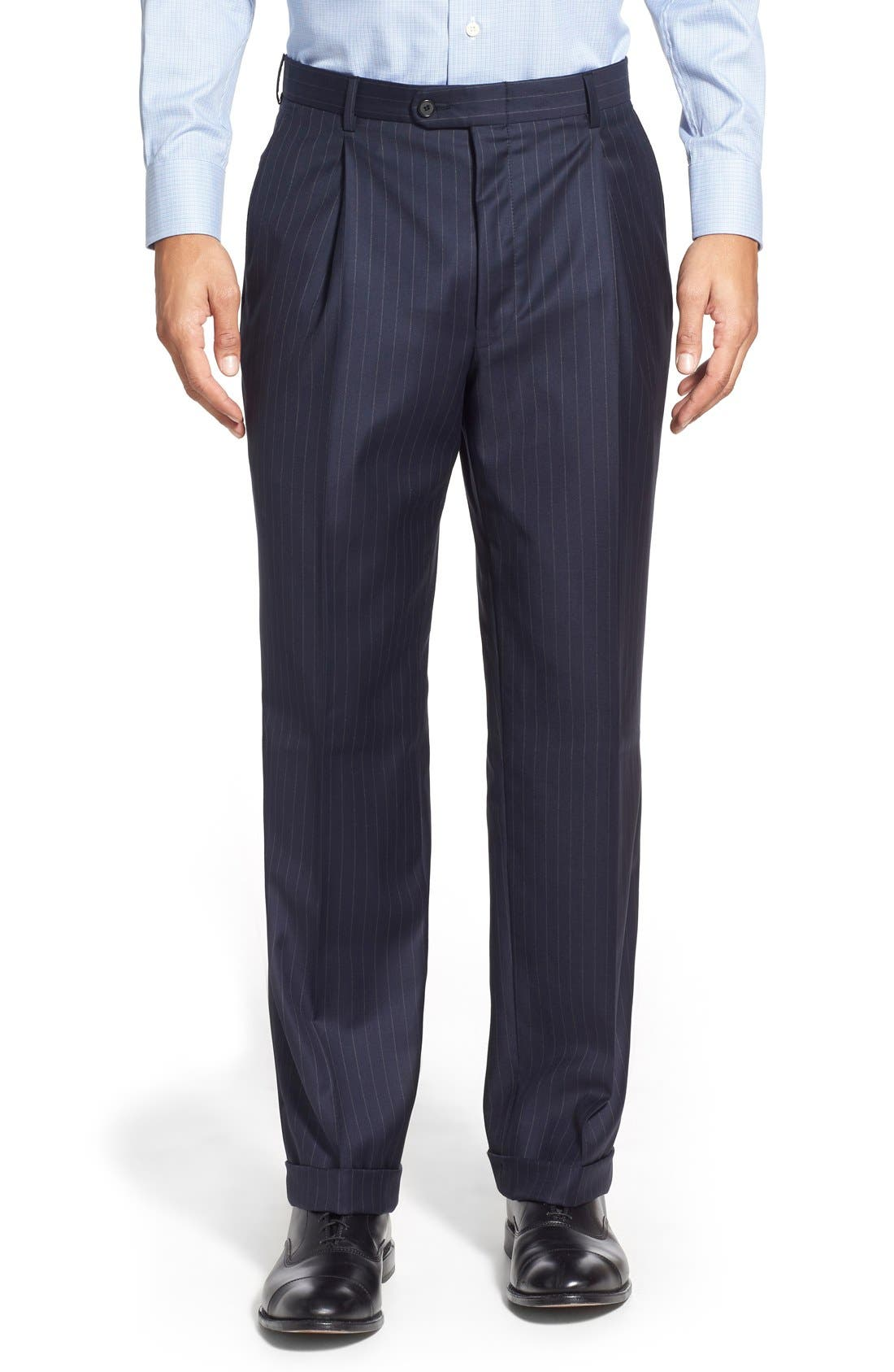 'Beacon - B Series' Classic Fit Stripe Wool Suit,                             Alternate thumbnail 6, color,                             Navy
