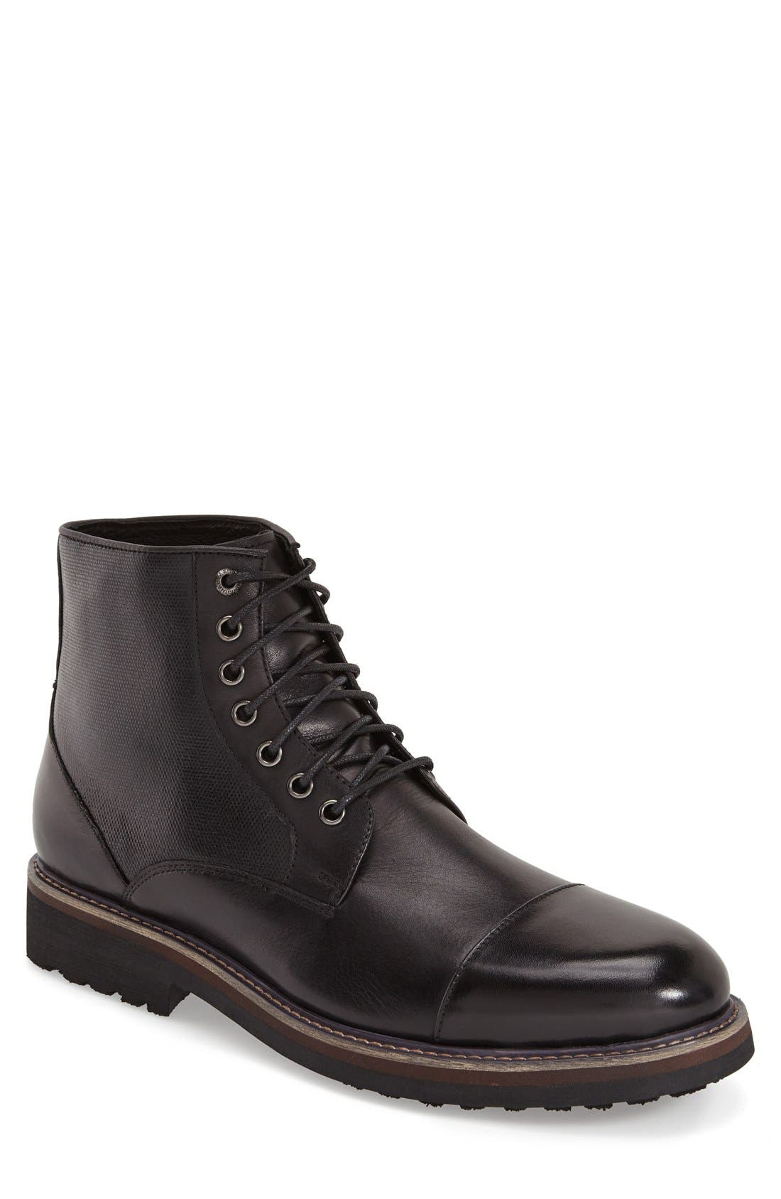 'Northstar' Cap Toe Boot,                             Main thumbnail 1, color,                             Black Leather