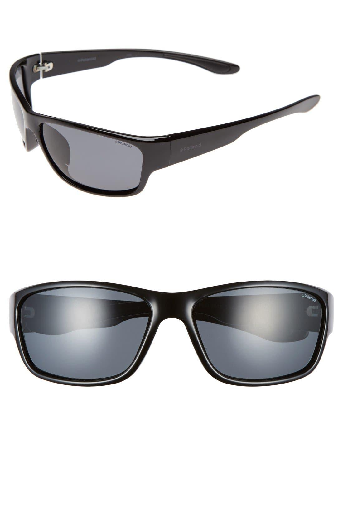 Polaroid 3015/S 63mm Polarized Sunglasses,                         Main,                         color, Shiny Black