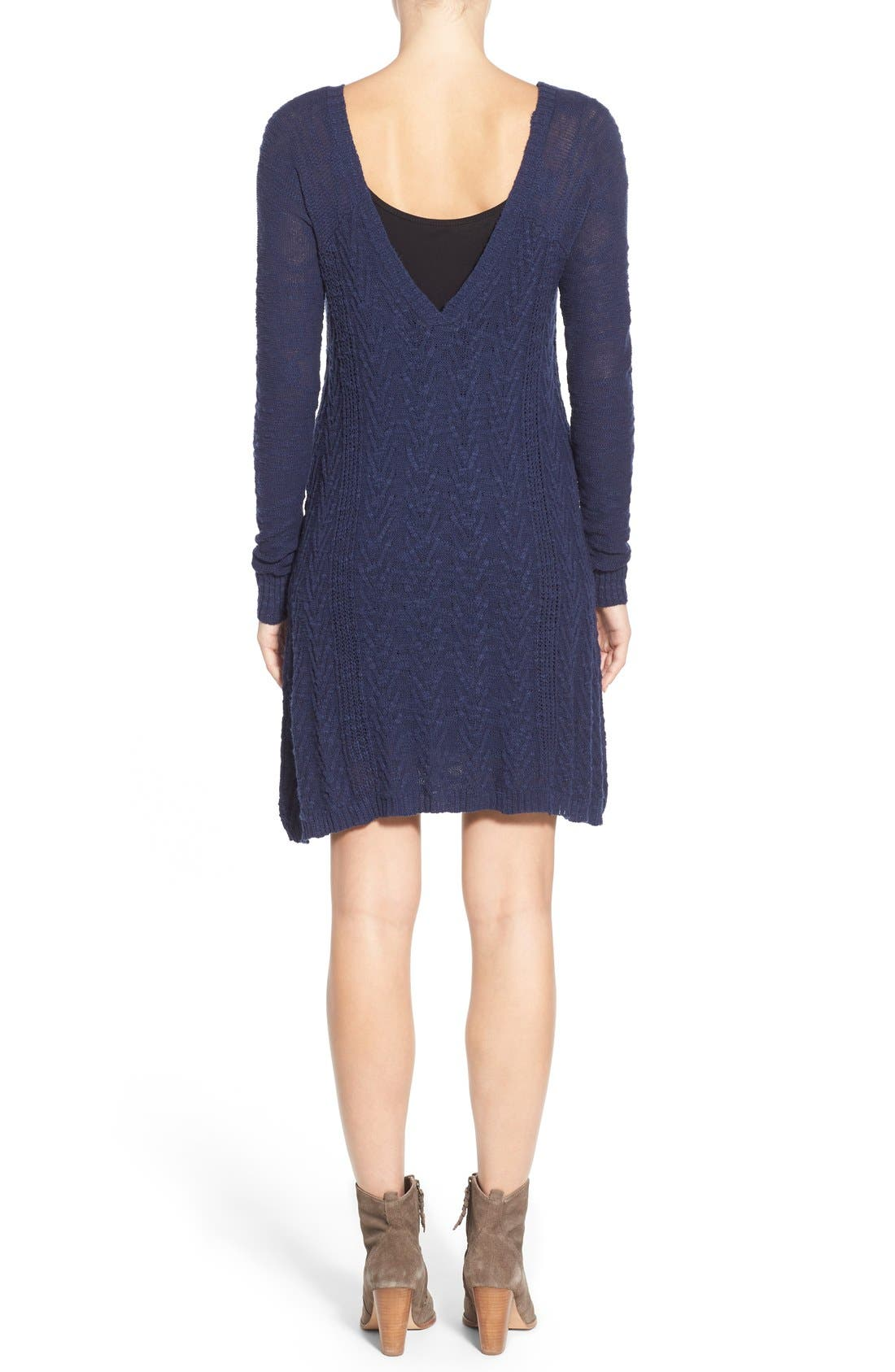 Alternate Image 2  - LAmade V-Neck Cable Knit Sweater Dress