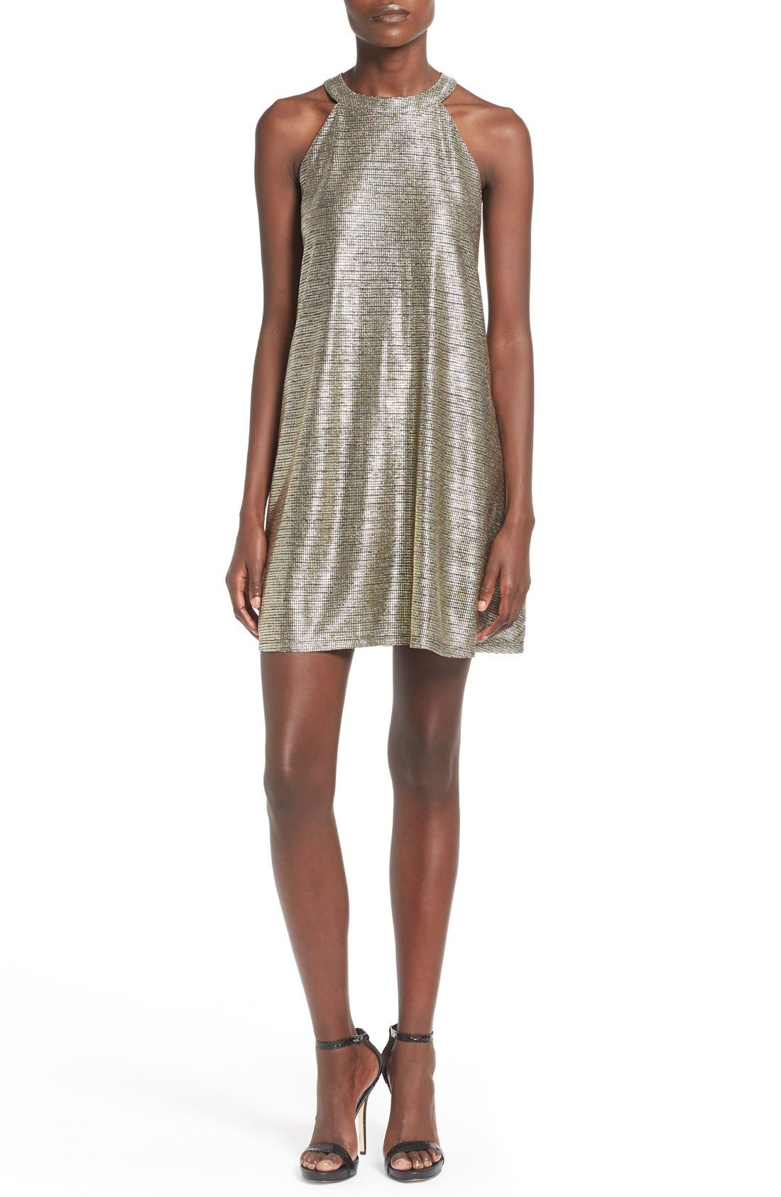 Main Image - One Clothing Metallic Halter Swing Dress