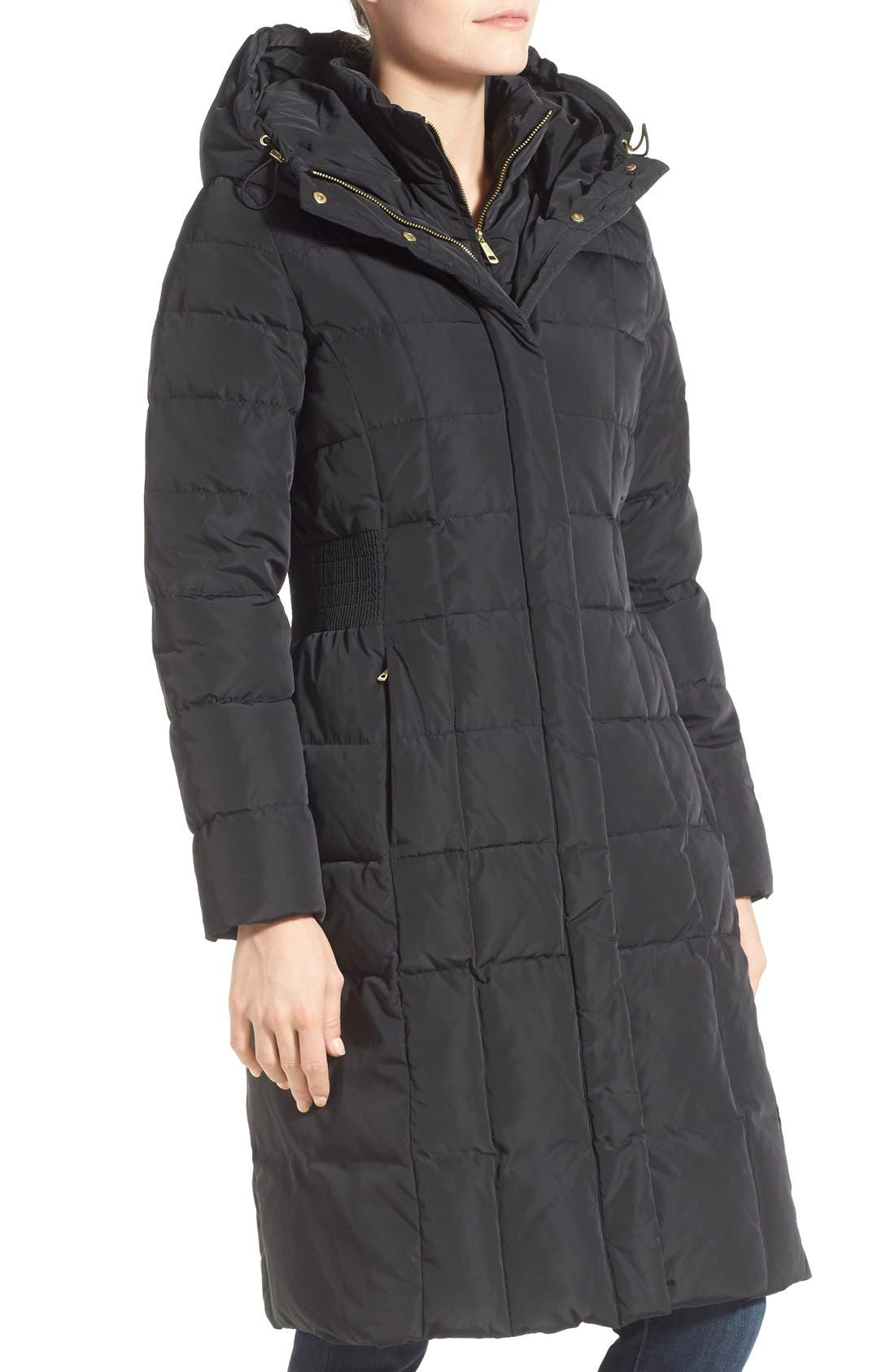 Cole Haan Bib Insert Down & Feather Fill Coat,                             Alternate thumbnail 4, color,                             Black