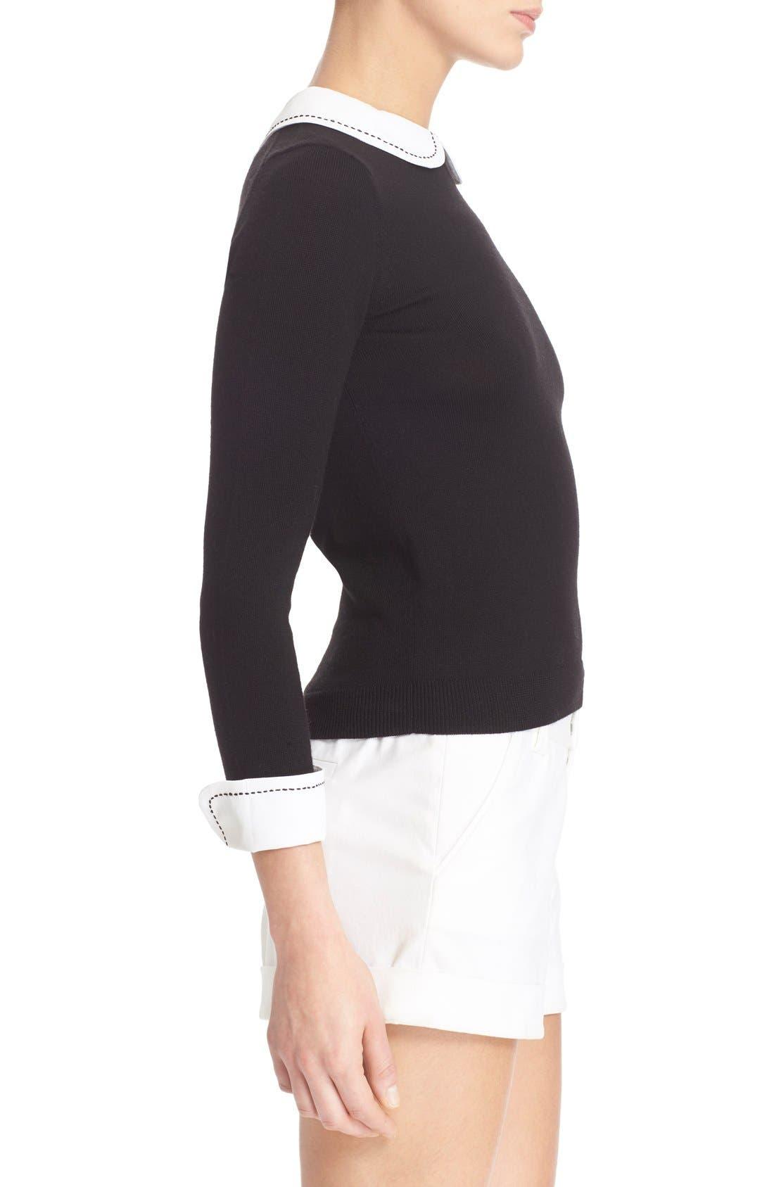 Alternate Image 3  - Alice + Olivia 'Porla' Embellished Collar Wool Pullover