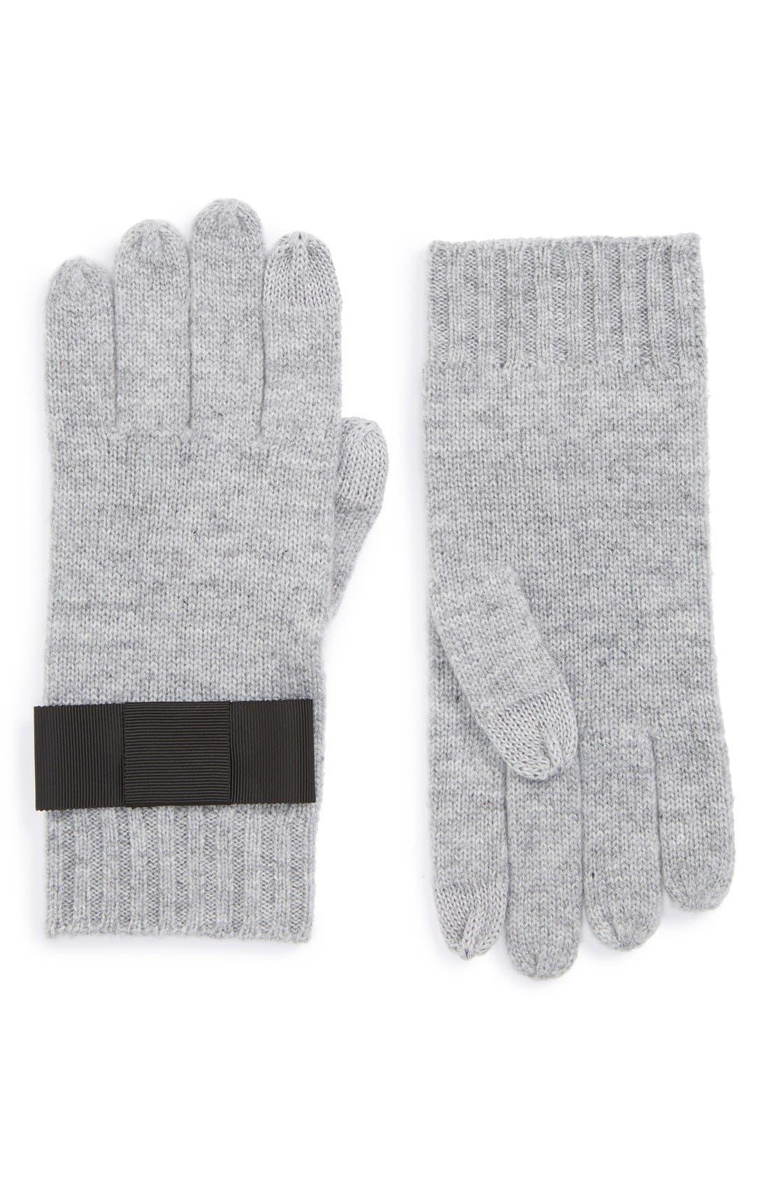 Alternate Image 1 Selected - kate spade new york grosgrain bow knit tech gloves