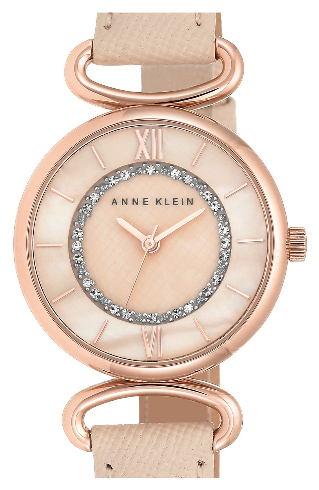 Main Image - Anne Klein Leather Strap Watch, 32mm