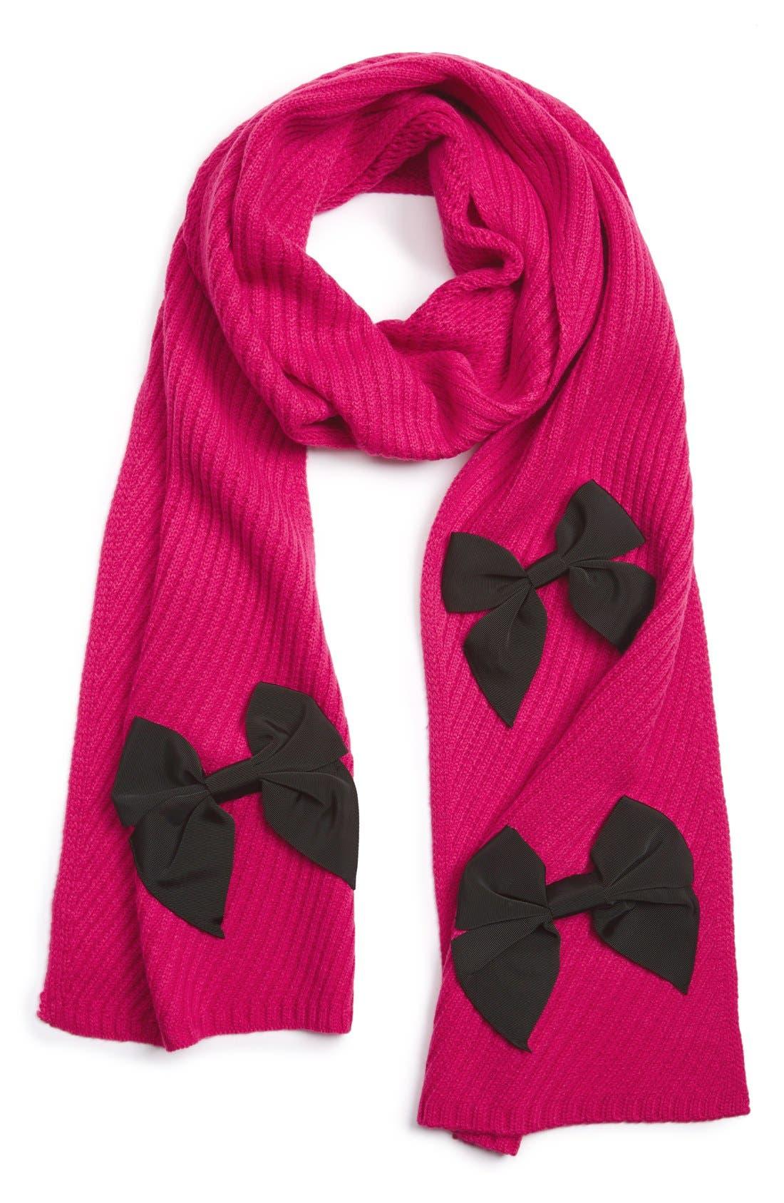 Main Image - kate spade new york bow rib knit scarf