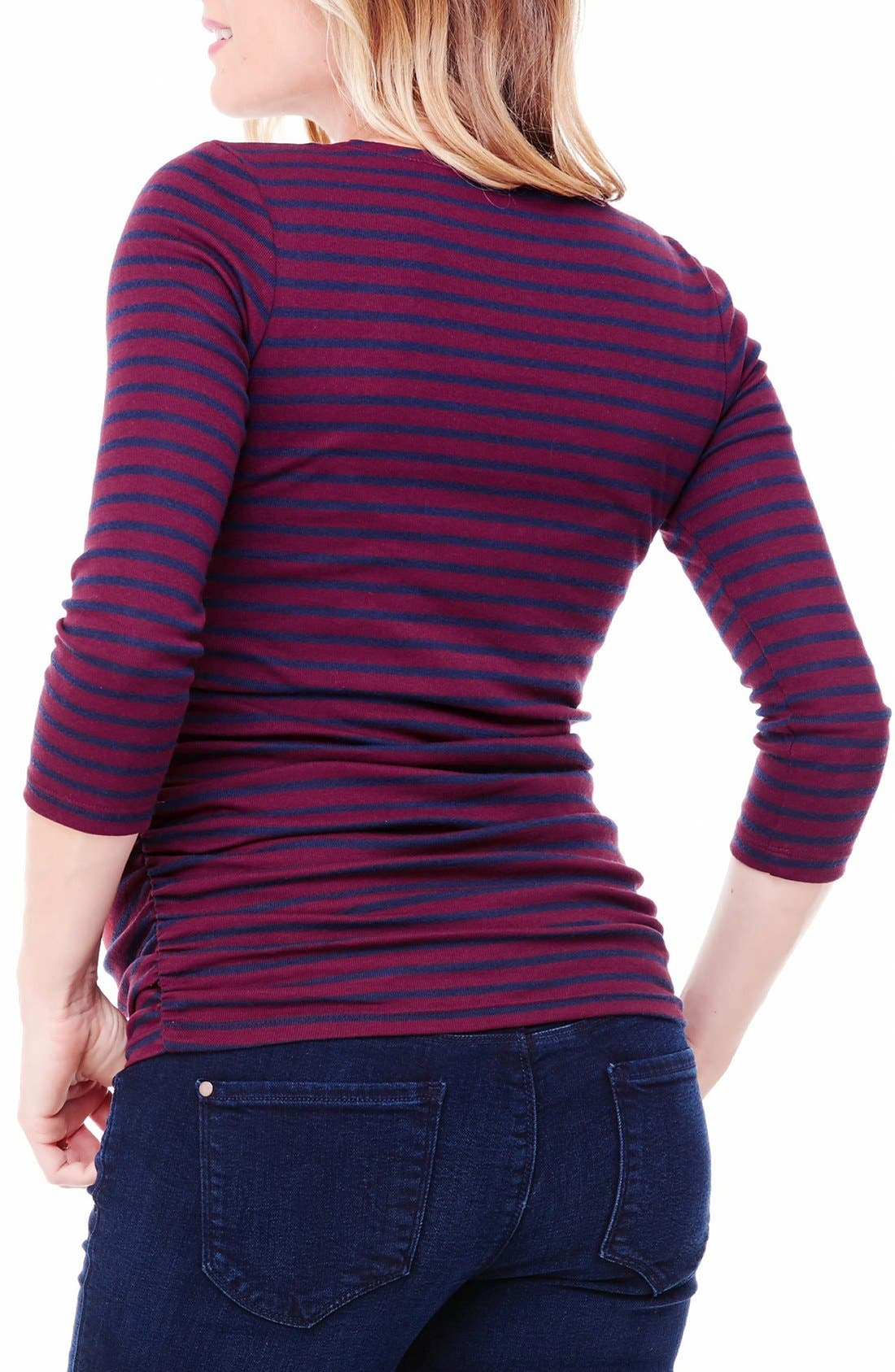 Alternate Image 2  - Ingrid & Isabel® Stripe Ruched Maternity Top