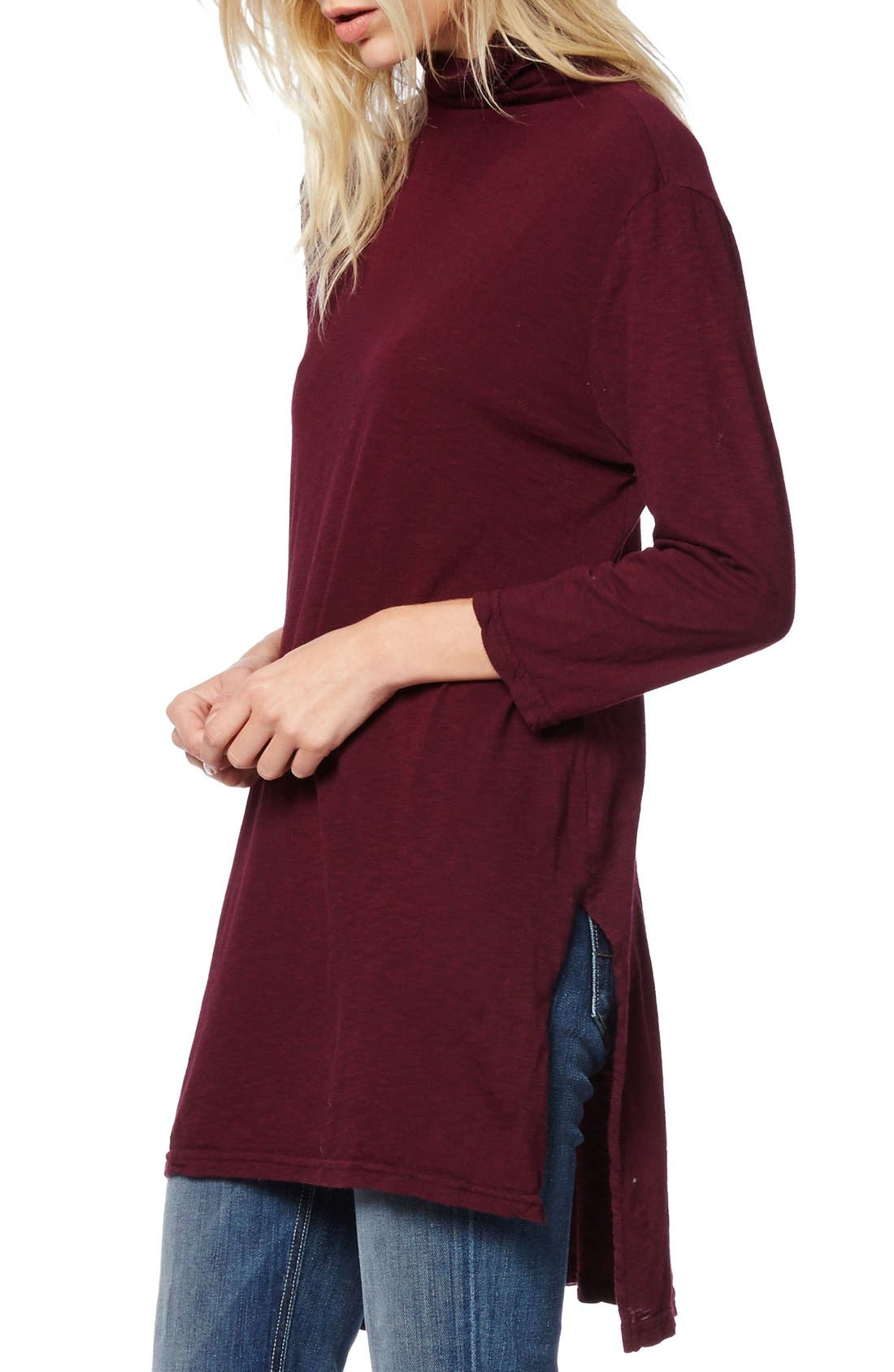 Alternate Image 3  - Michael Stars Mock Neck Supima® Cotton Tunic